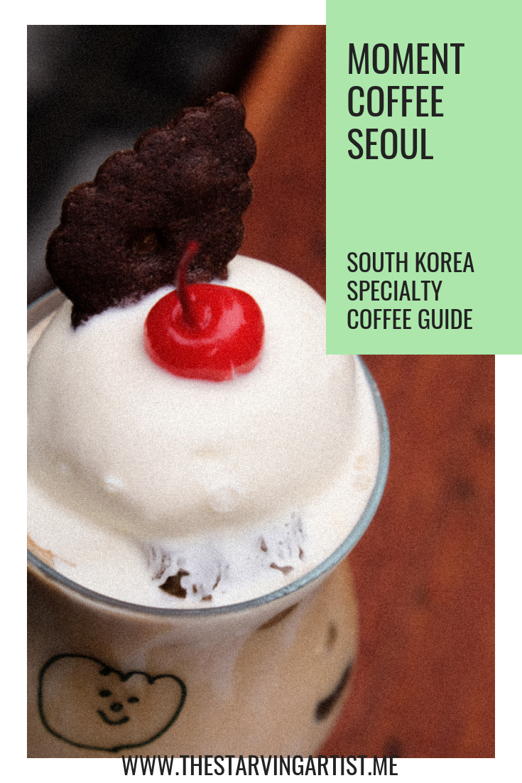 Moment coffee stand Seoul near Hongik University. Hongdae shopping street. South Korea Specialty coffee guide.