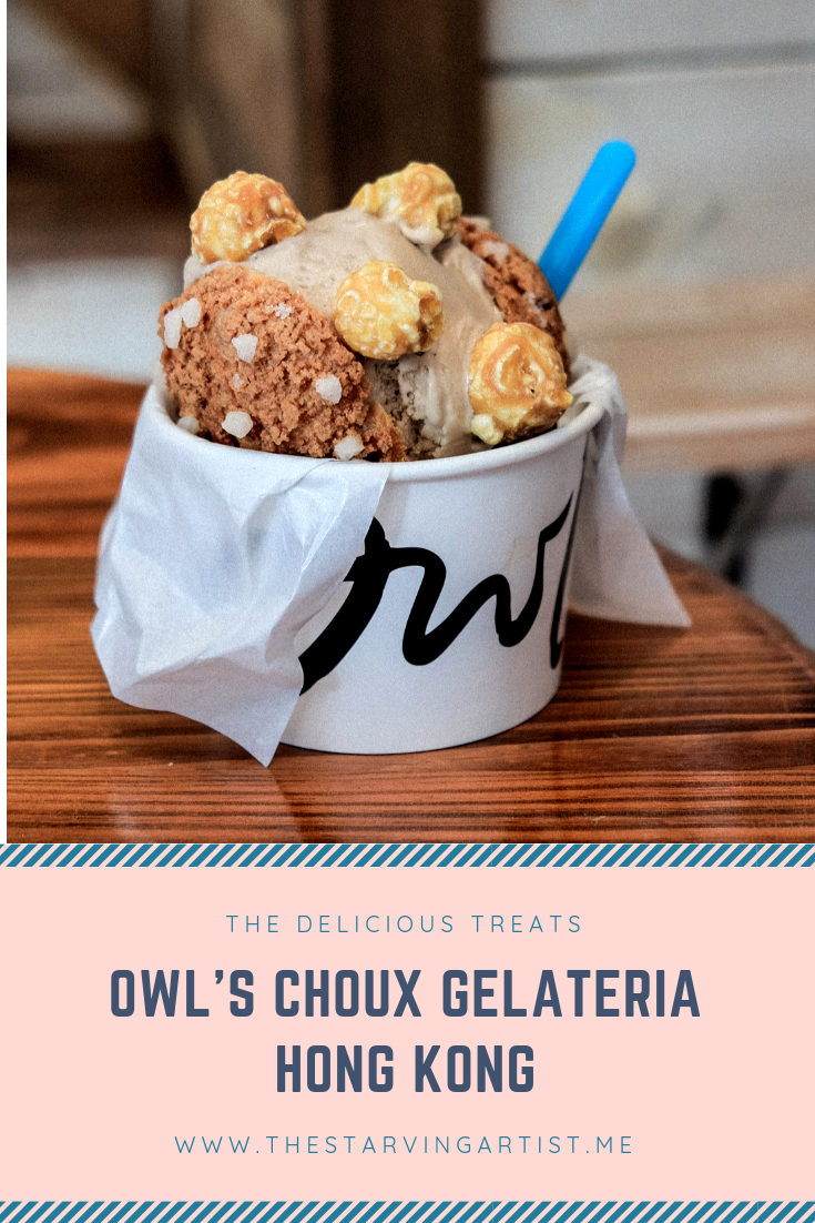 Owl's Choux ice cream in Hong Kong. Try freshly made gelato near Tsim Cha Tsui Kowloon Island. Handcrafted Choux pastry with delicious gelato. Best gelato in Hong Kong.