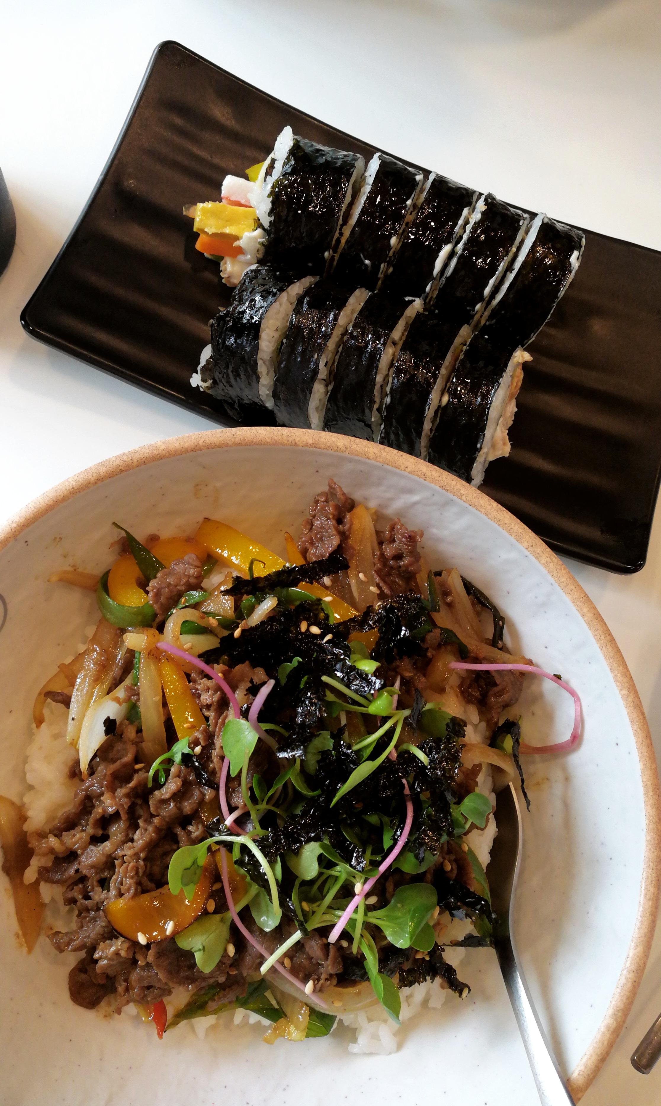 Gimbap and bulgogi on rice.