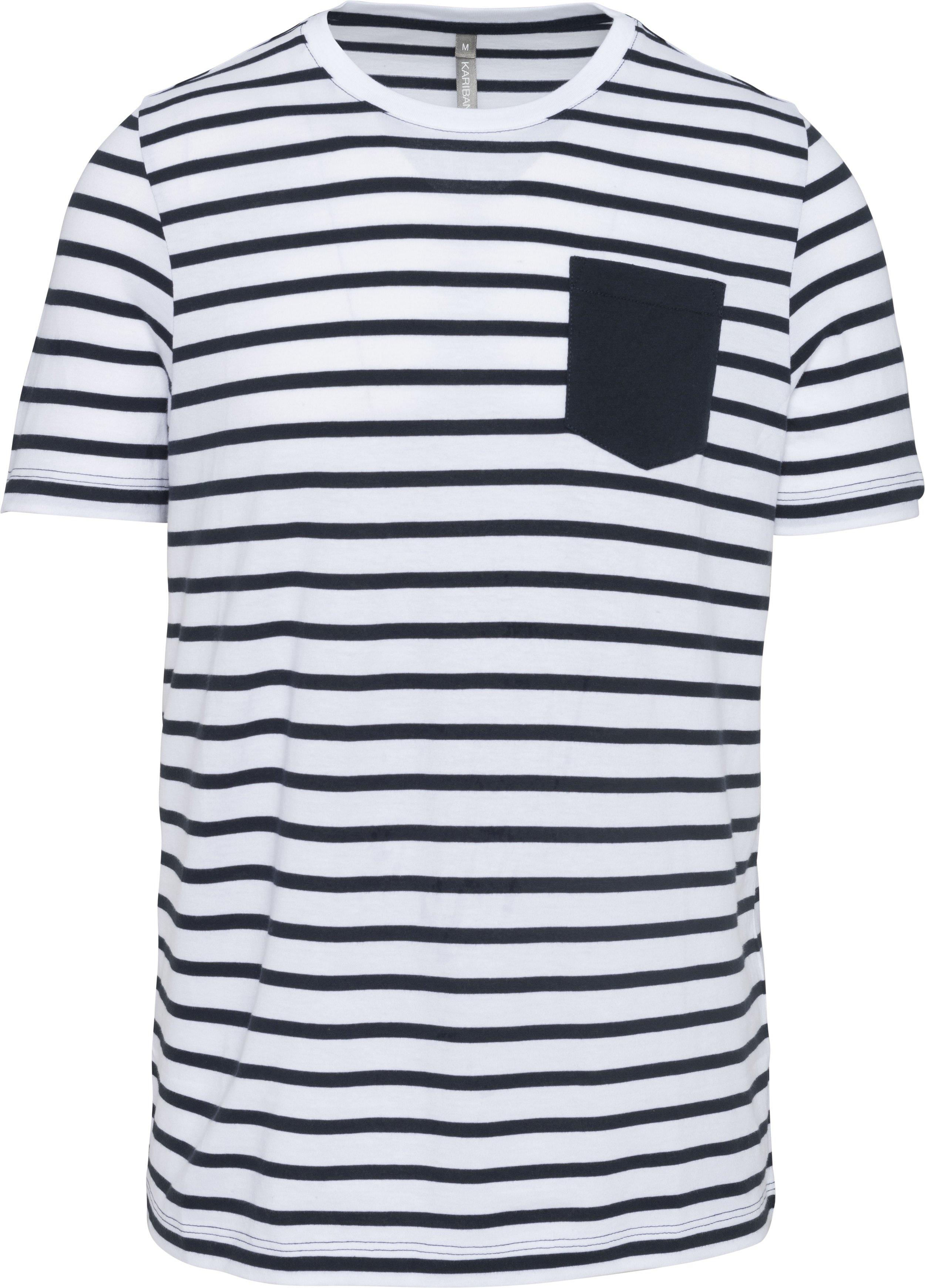 T-shirt às riscas estilo marinheiro de manga curta com bolso