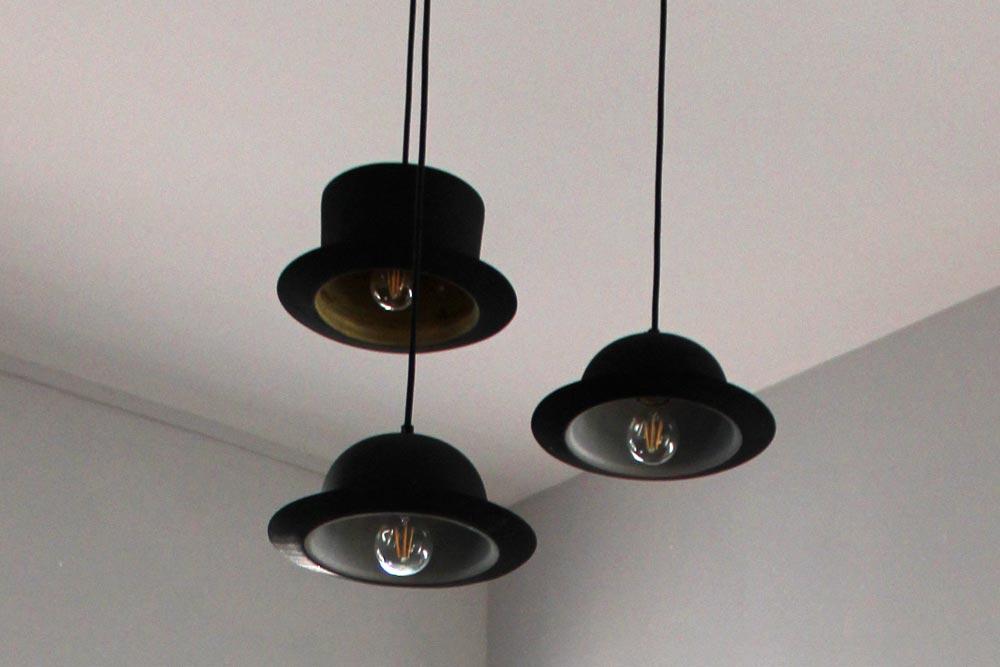 Hat shaped lights at Chateau JAC