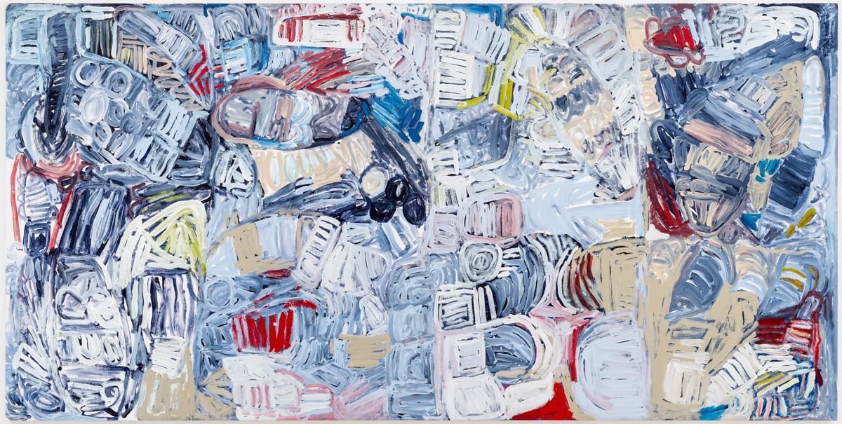Sonia Kurarra, Martuwarra, acrylic on canvas, 120 x 240 cm