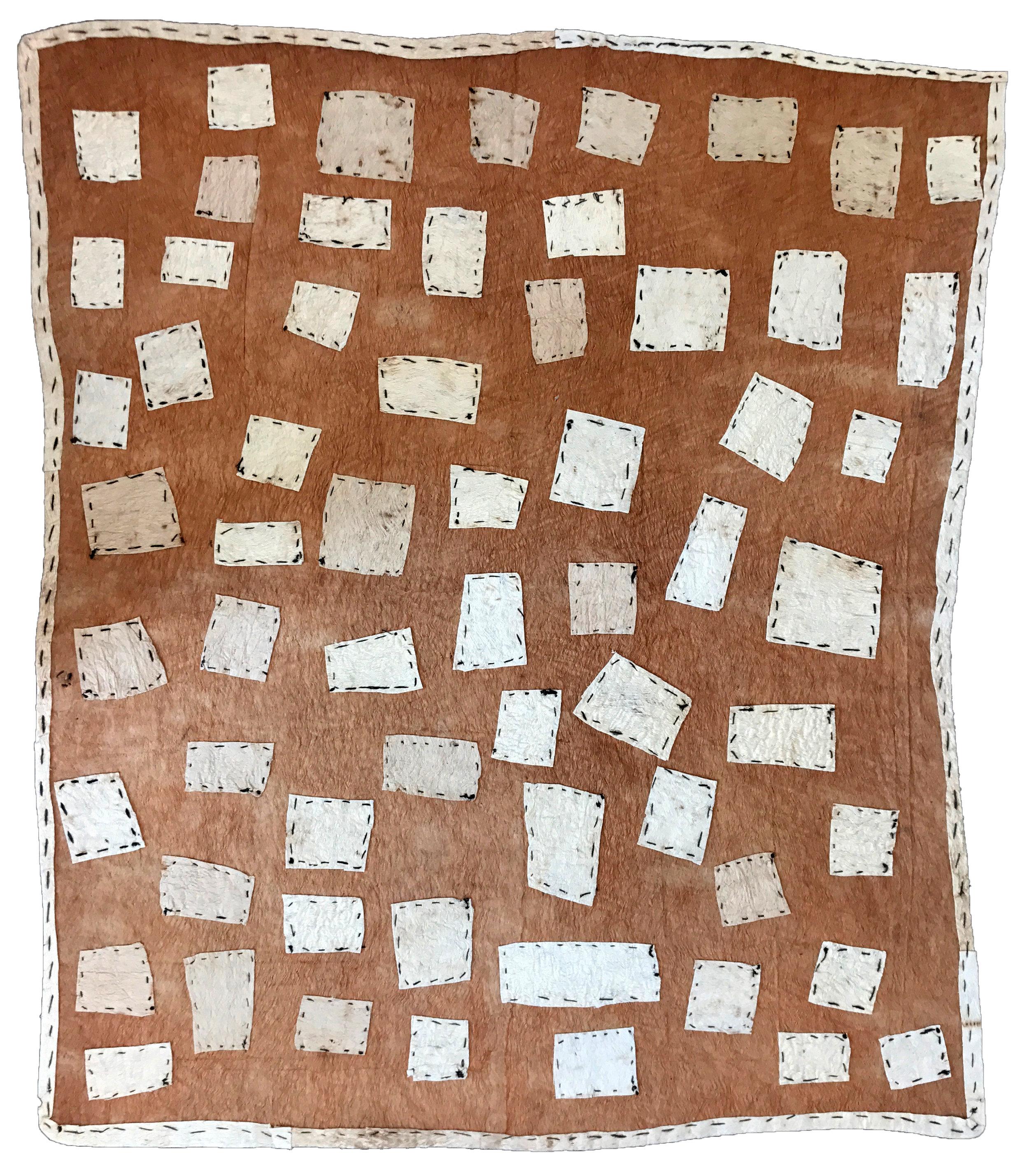 Brenda Kesi (Ariré)    Taliobamë'e nioge   Ancestral design of the mud  84.5 x 96.5cm  Appliqued mud-dyed nioge (barkcloth), 2016