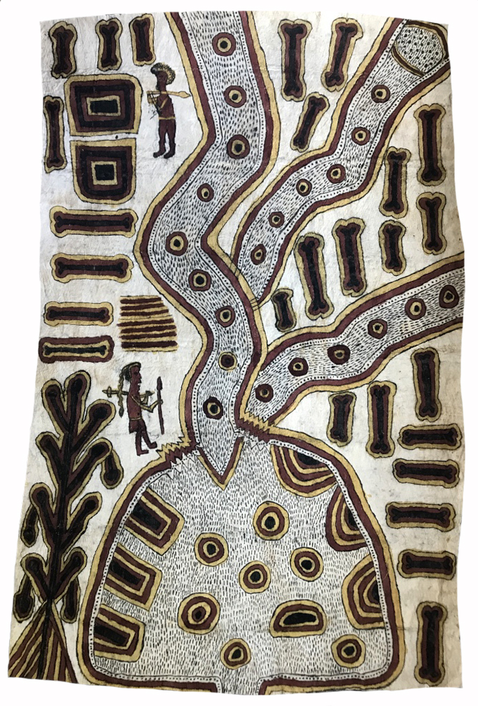 Ilma Savari (Ajikum'e)    Story of the Spirit-cannibal hunting the Nyoniraje   clan-man at Uborida (Jordan River)  117 x W 79cm  Natural pigments on nioge (barkcloth), 2017