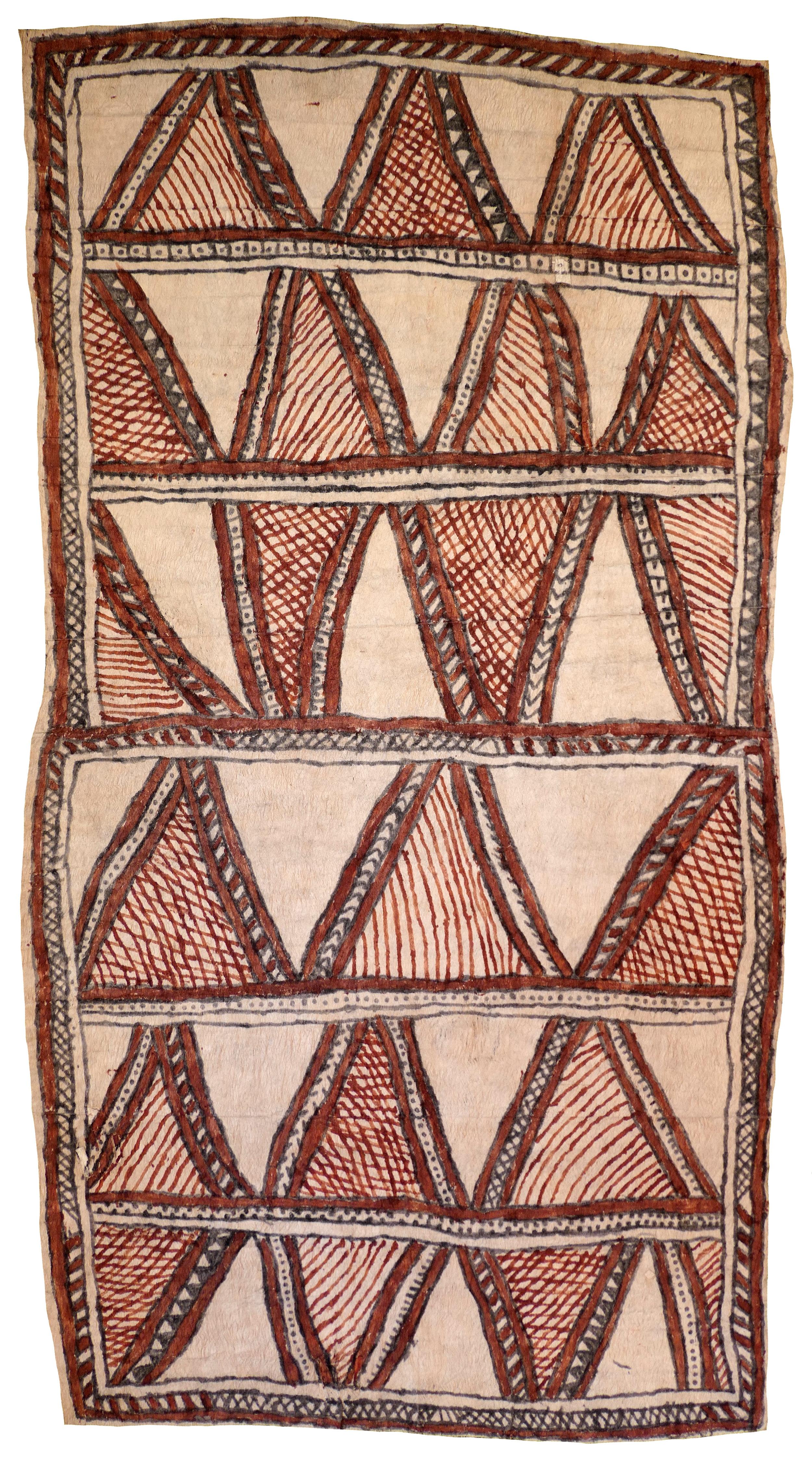 Fate Savari (Isawdi)    Amami nioge   Cloth of the Ancestors  114 x 62cm  Natural pigments on nioge (barkcloth), 2017