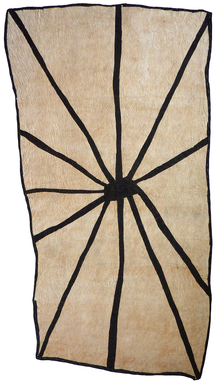 Brenda Kesi (Ariré)    Wo'ohohe   Ground-burrowing spider  143 x 82cm  Appliqued mud-dyed nioge (barkcloth), 2016