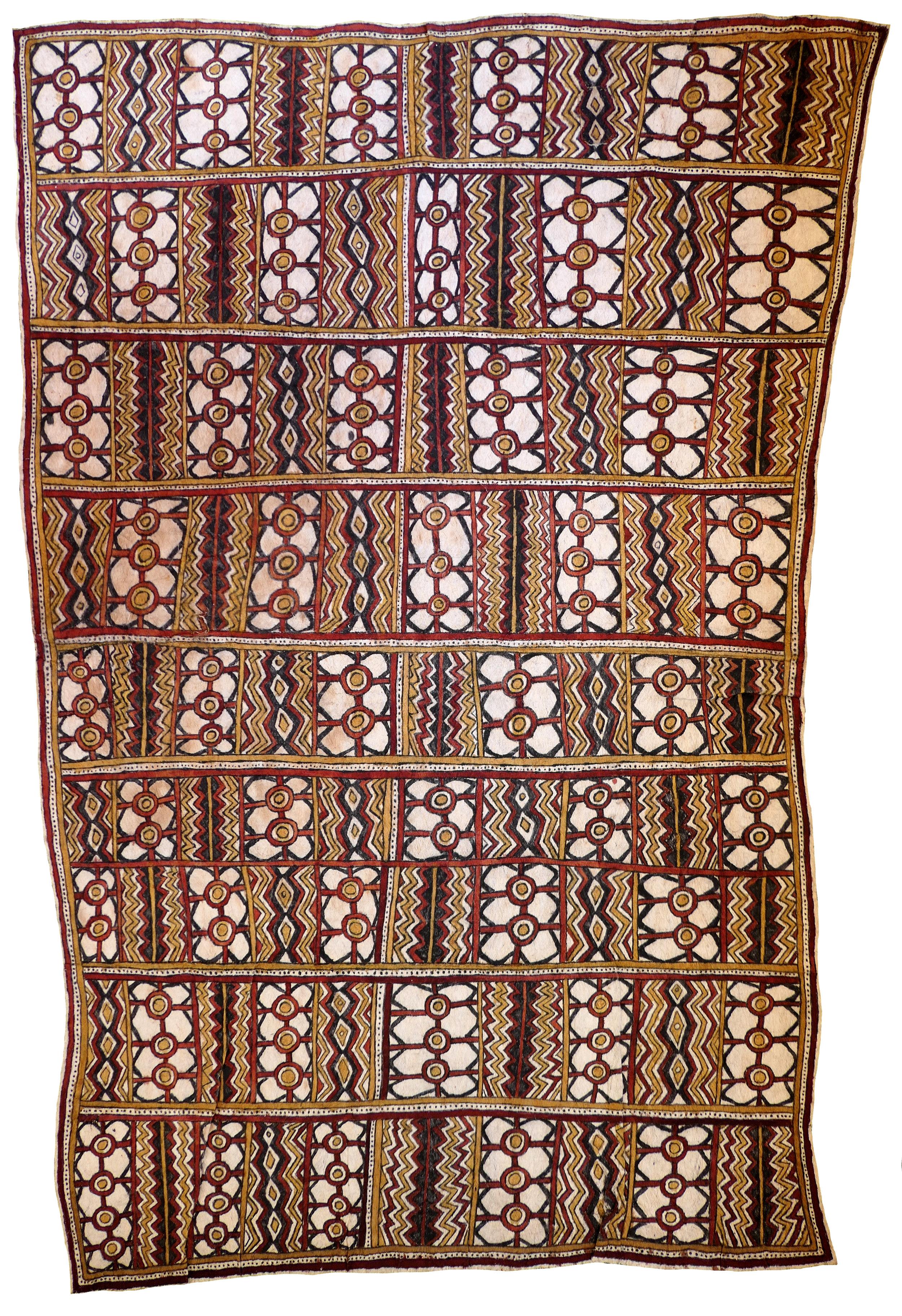 Lila Warrimou (Misaso)    Viojoje dehe, vinohu'e (siha'u'e), vison'e ohu'o sabu ahe   Wings of the butterfly, tattoo design of the bellybutton (fruit of the Sihe tree), eel-bone jewellery for initiation nasal septum piercings, and spots of the wood-boring grub  118 x 82.5cm  Natural pigments on nioge (barkcloth), 2012