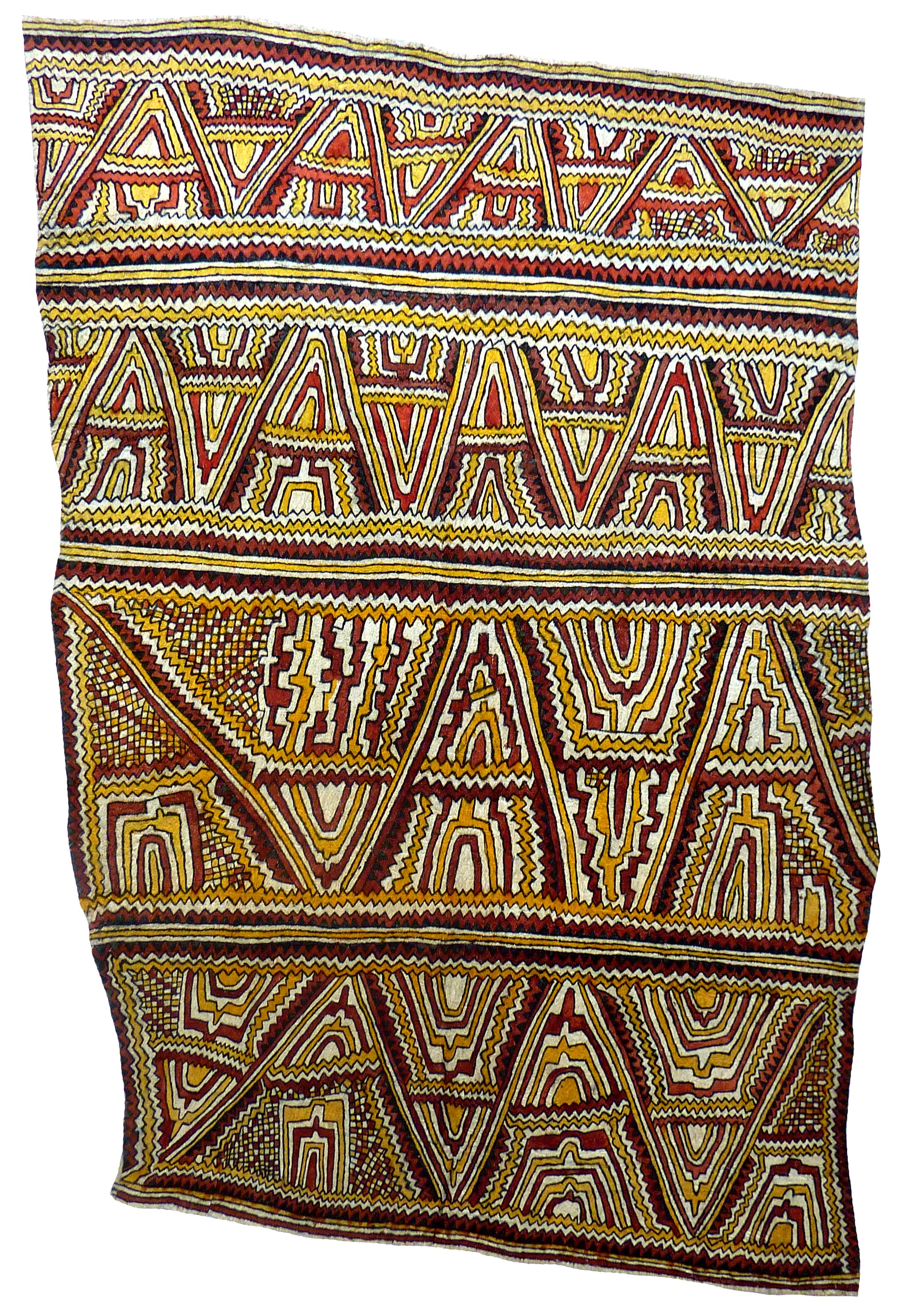 Mala Nari (Matosi)    Dahoru'e, hitai, buborianö'e ohu'o tuböre une   Omie mountains, river boulders, beaks of the Papuan Hornbill and eggs of the Dwarf Cassowary  184 x 128 cm  Natural pigments on nioge (barkcloth blanket), 2014