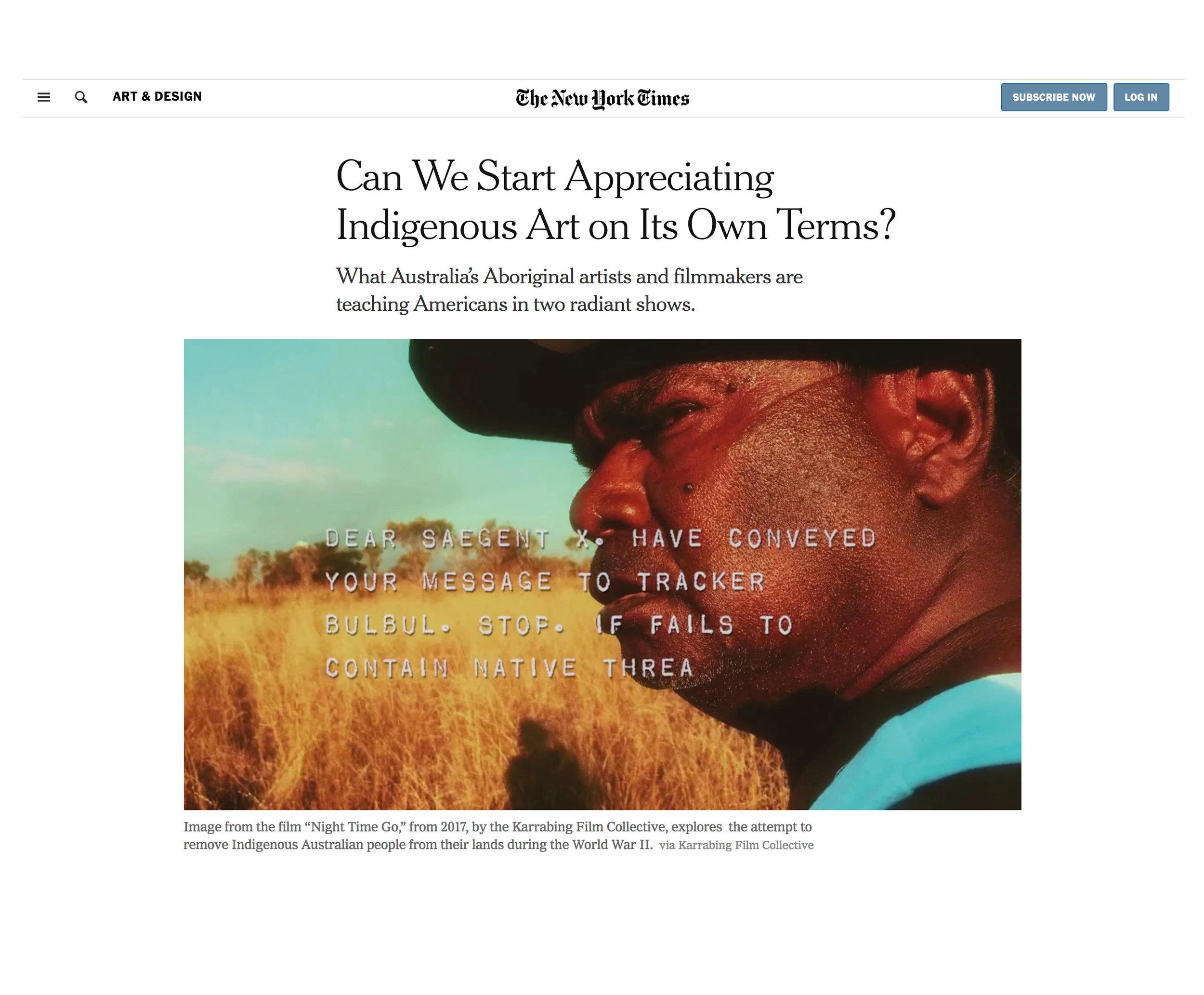 New York Times_Can we start appreciating indigenous art_May 2019.jpg