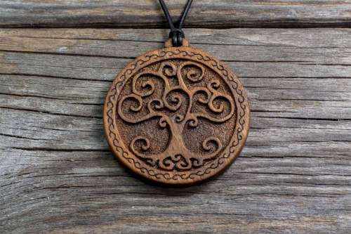 Beech | Tree of Life Series | Hand Carved Wooden Pendant | Handmade Wooden Necklace