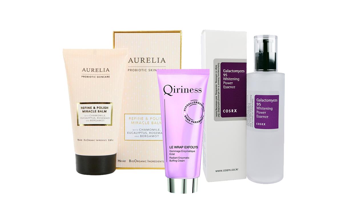 Refine & Polish Miracle Balm, Aurelia Probiotic Skincare; маска-гоммаж Le Wrap Exfolys; эссенция Galactomyces 95 Whitening Power Essence, CosRx.