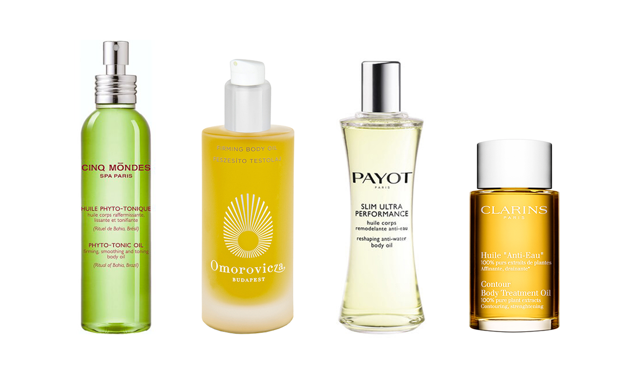 На фото:   Cinq Mondes Phyto-Tonic Oil,   Omorovicza Firming Body Oil,   Payot Slim Ultra Performance,   Clarins Anti-Eau Oil.