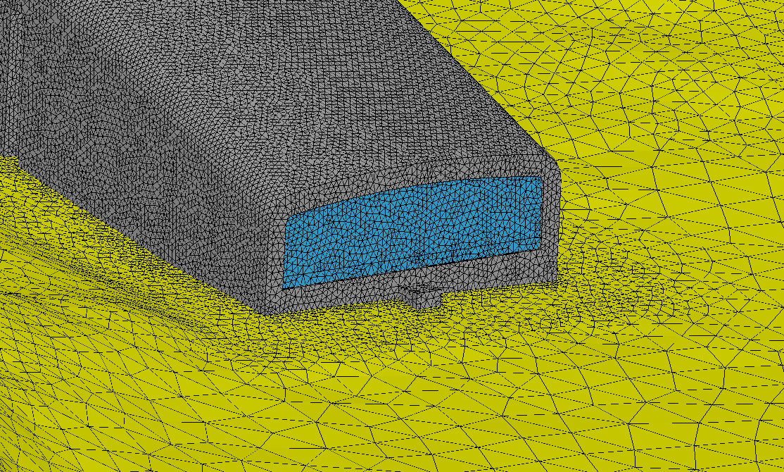 Unstructured mesh around restaurant window used for CFD analysis.
