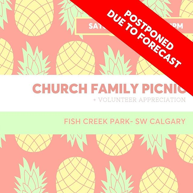 Due to the wet weather forecasted for tomorrow, our annual church family picnic will be postponed until Saturday July 20.