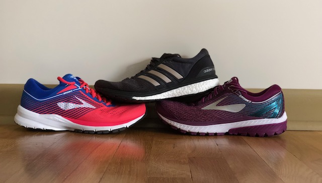 From left to right:  Brooks Launch 5, Adidas Boston 6, Brooks Ghost 10
