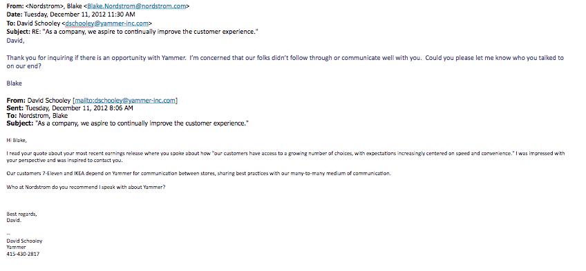 Email response from Blake Nordstrom (President of Nordstrom Inc.)