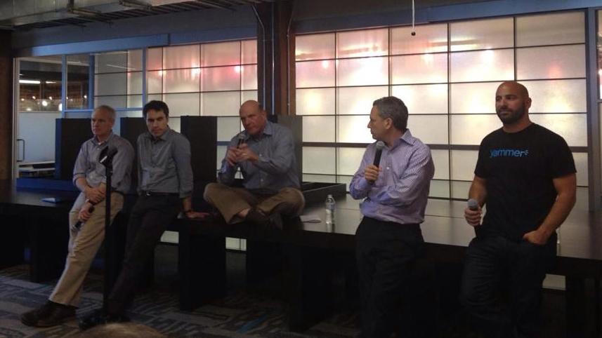 Kurt Delbene, Jeff Teper, Steve Balmer (CEO of Microsoft), David Sacks (CEO of Yammer) and Adam Pisoni (CTO Founder) Announcing the Microsoft aquisition for 1.2 Billion