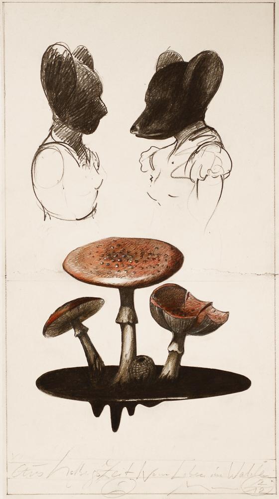 Aus Holbergs Zeit: drawing, graphite, colour pen/paper, 2012