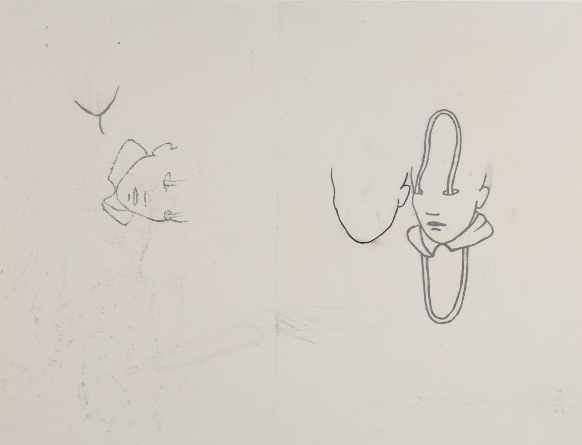 Faces: oil stick/paper, 80x 60 cm, 2008