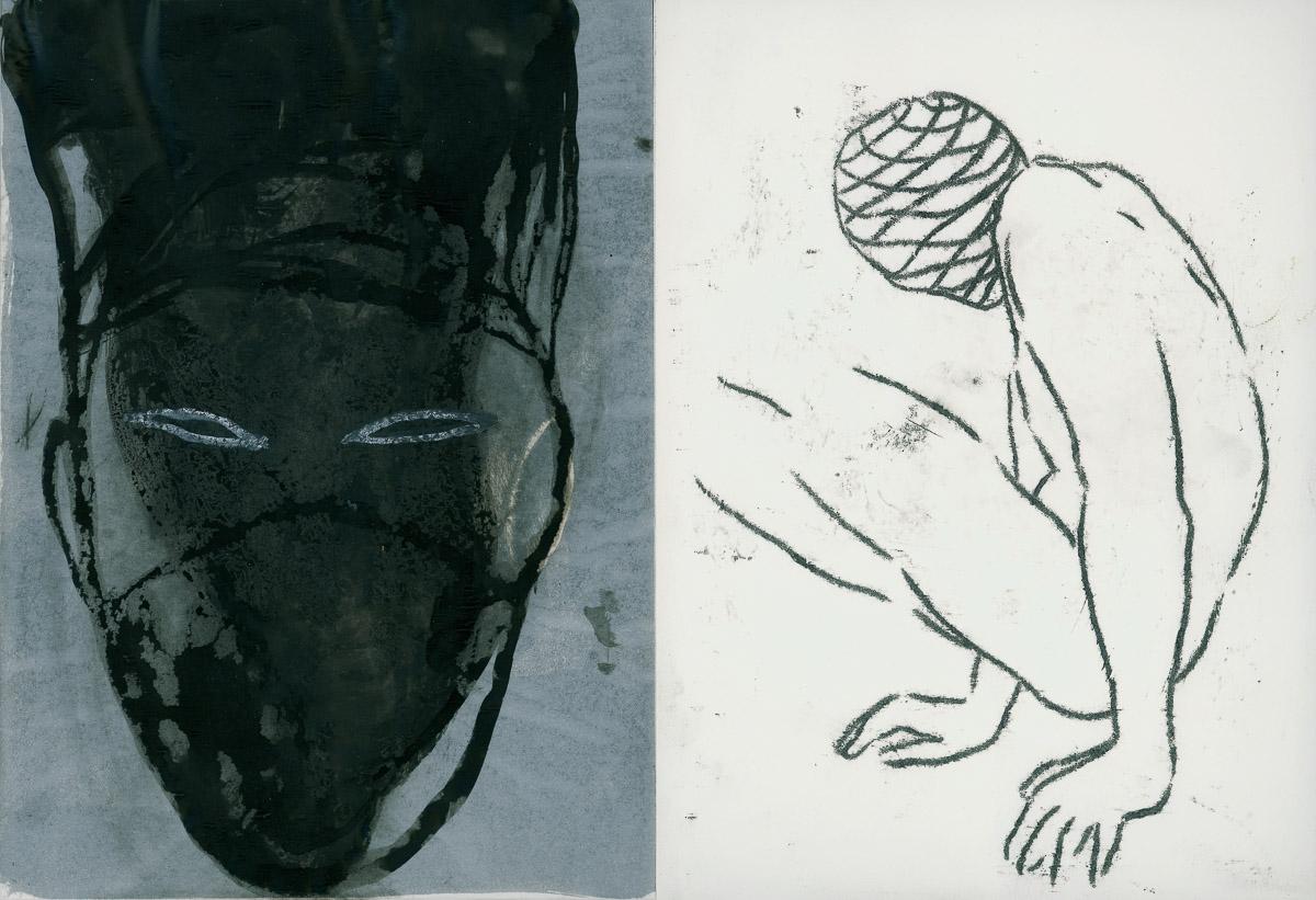 Endobionten: mixed media/paper, 30x 52 cm, 2004