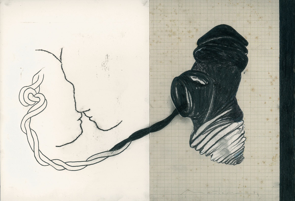 Endobionten: mixed media/paper, 30x 55 cm, 2004