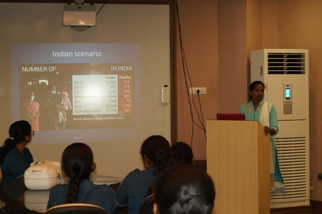 """Guest Lecture on """"Influenza - seasonality, mutations and seroepidemiology"""" by Dr. G. Nandhini Post Doctoral Fellow, JIPMER, Pudhucherry on May 13; 2017."""