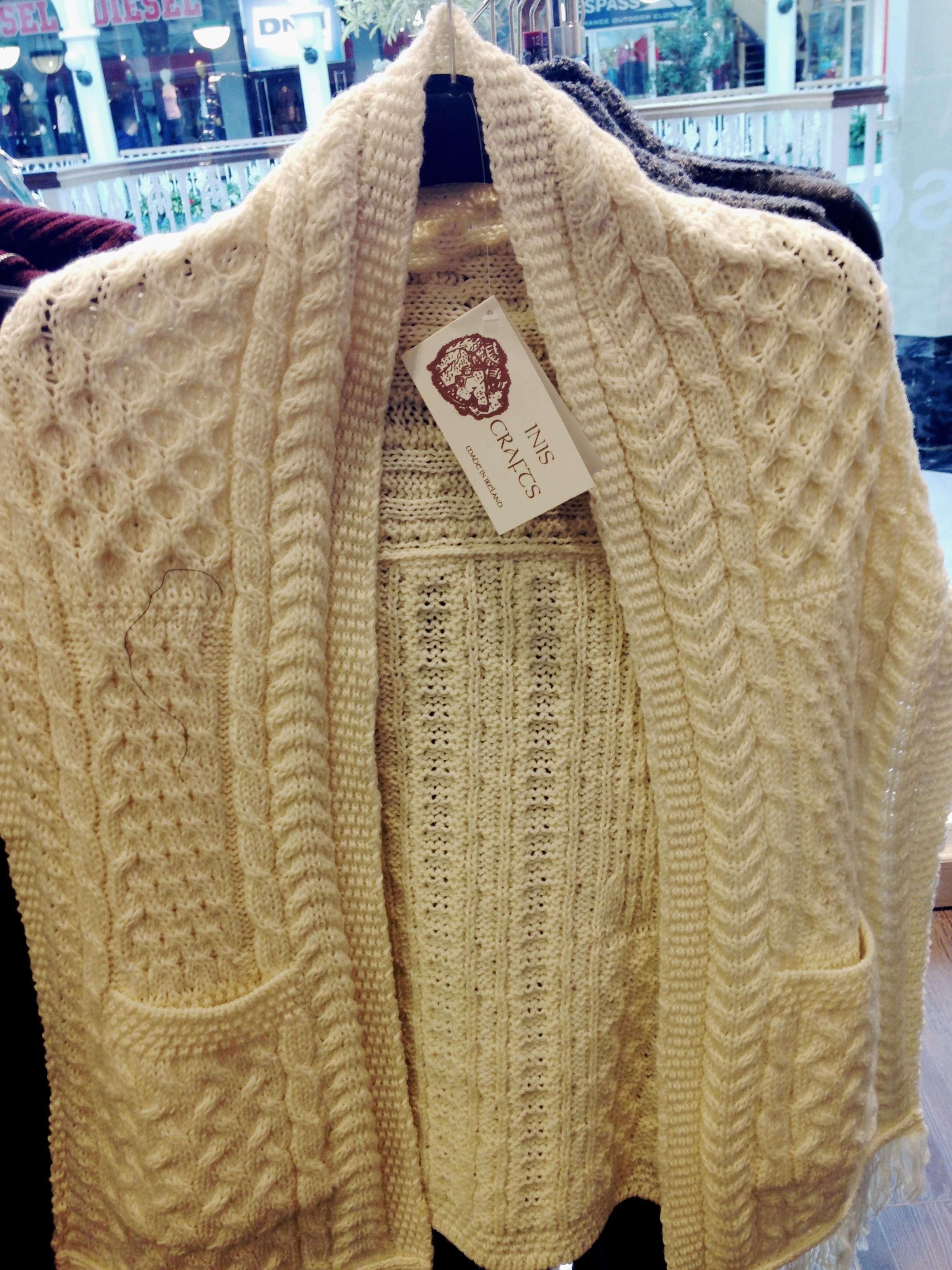 Tk Maxx! Aran type knit from Inis Crafts. 100% wool. €39.99