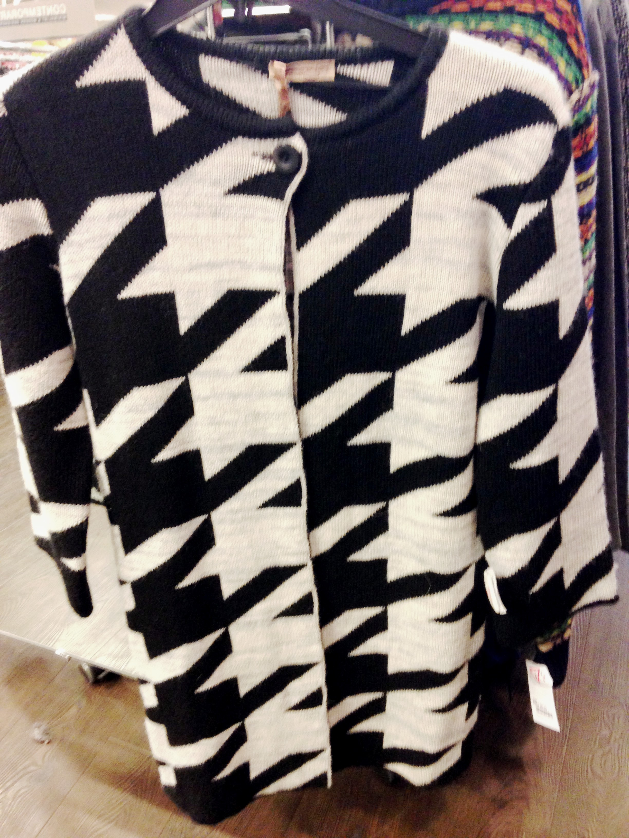 TK Maxx! Monochrome geometric design knitted coat. Made in Italy by Cocogio.Great value at €46.99