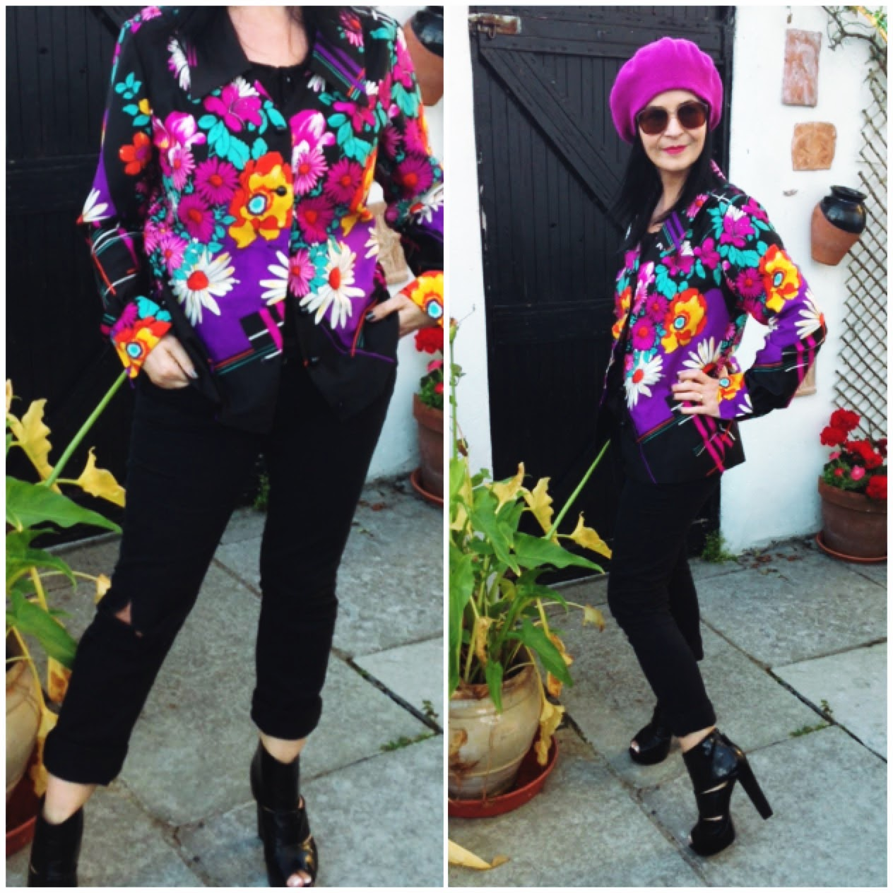 Vintage light jacket paired with dark skinnies and shoe boots give this colourful look a slimmed down effect. Look is completed with my raspberry beret!