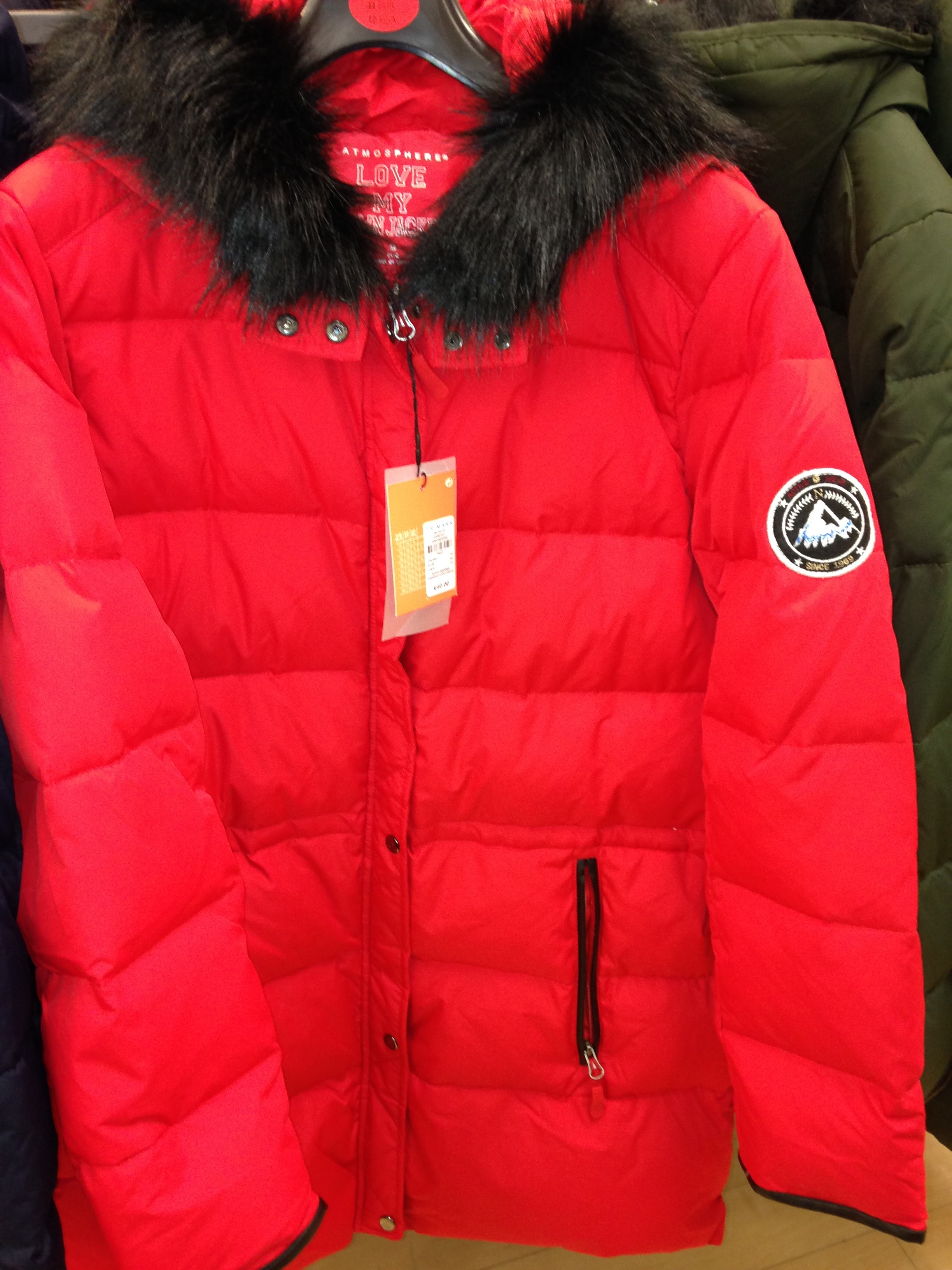 Red down filled artic parka. Love this fab colour and so warm. Great value at €40. Penneys