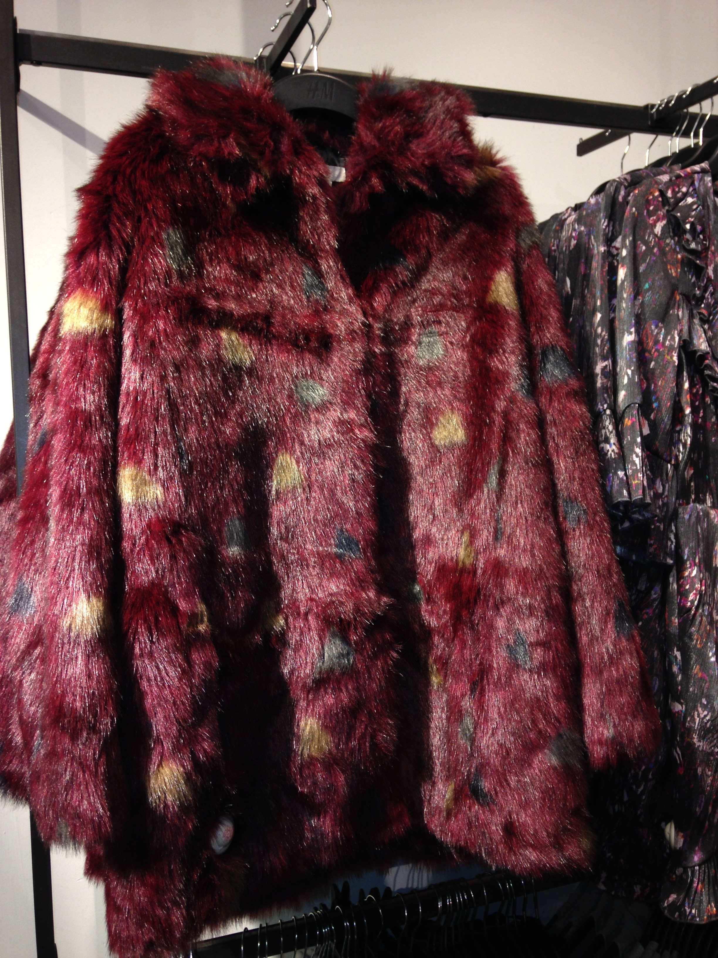 Amazing faux fur from H&M. A lovely Claret colour with spots of beige and black. €119.00