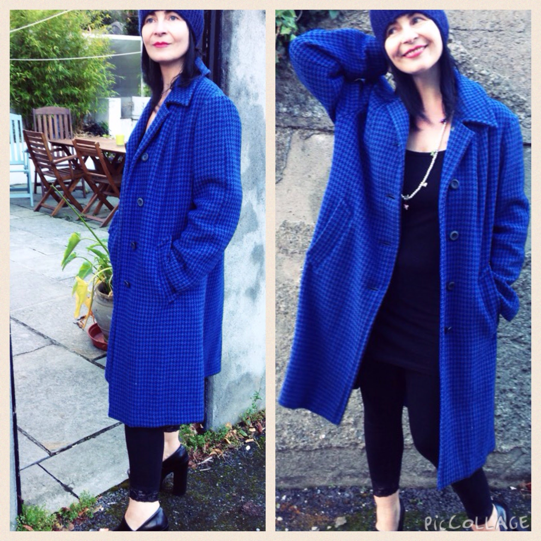 """Vintage """"Harris Tweed"""" overcoat in Blue/Black small check. Really cool coat. Love the tailoring in this charity shop find."""