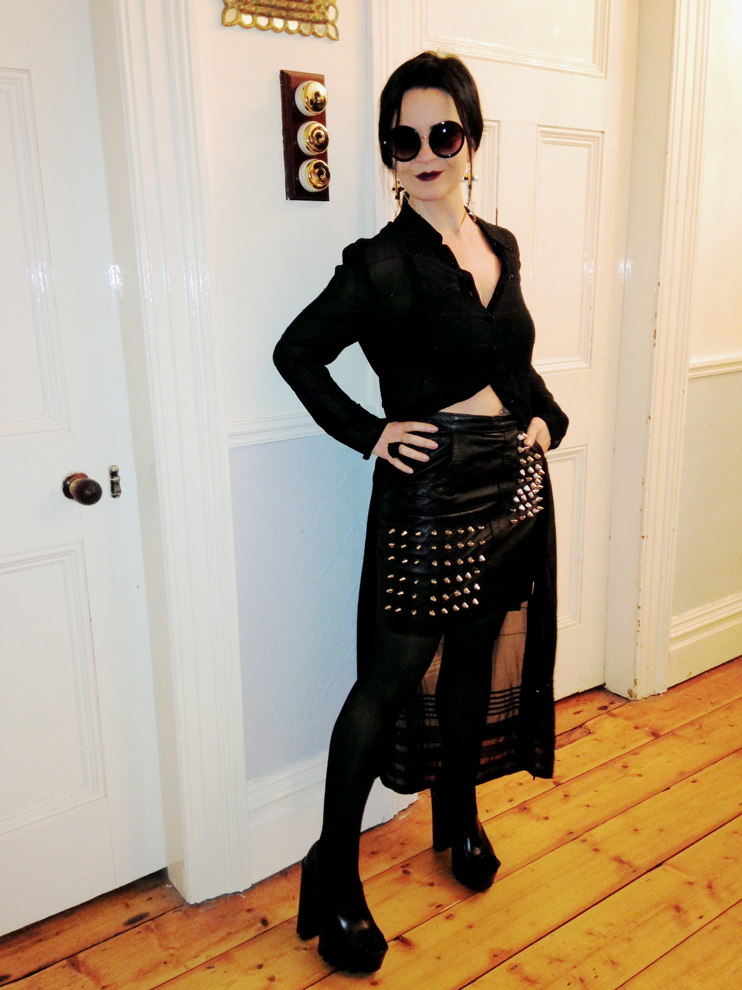 """The leather skirt is paired with a chiffon style Duster coat by Betty Barclay from the 90s. Love this """"Don't mess with me"""" look!"""
