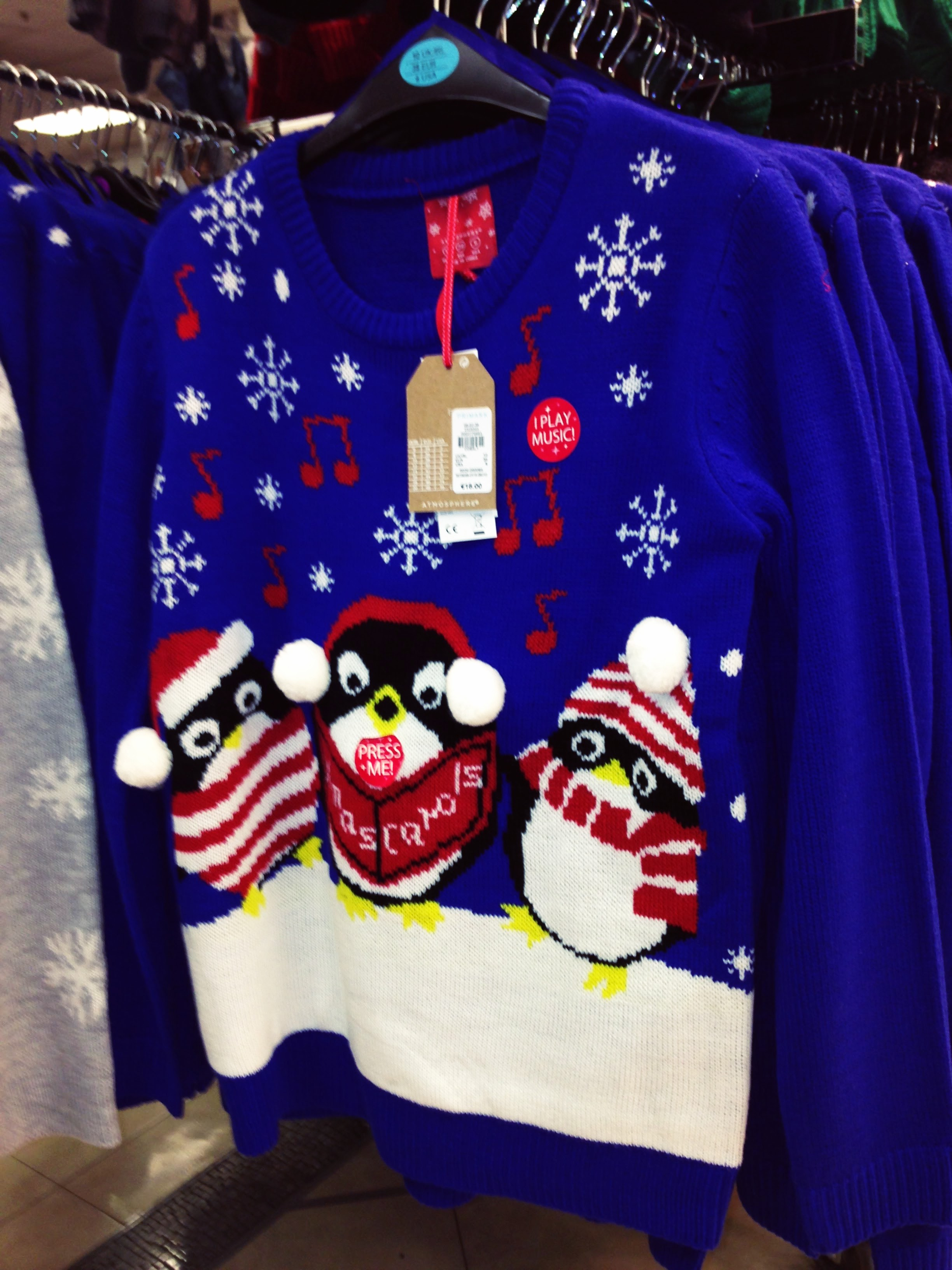 Novelty blue Xmas sweater €16.00 Penneys