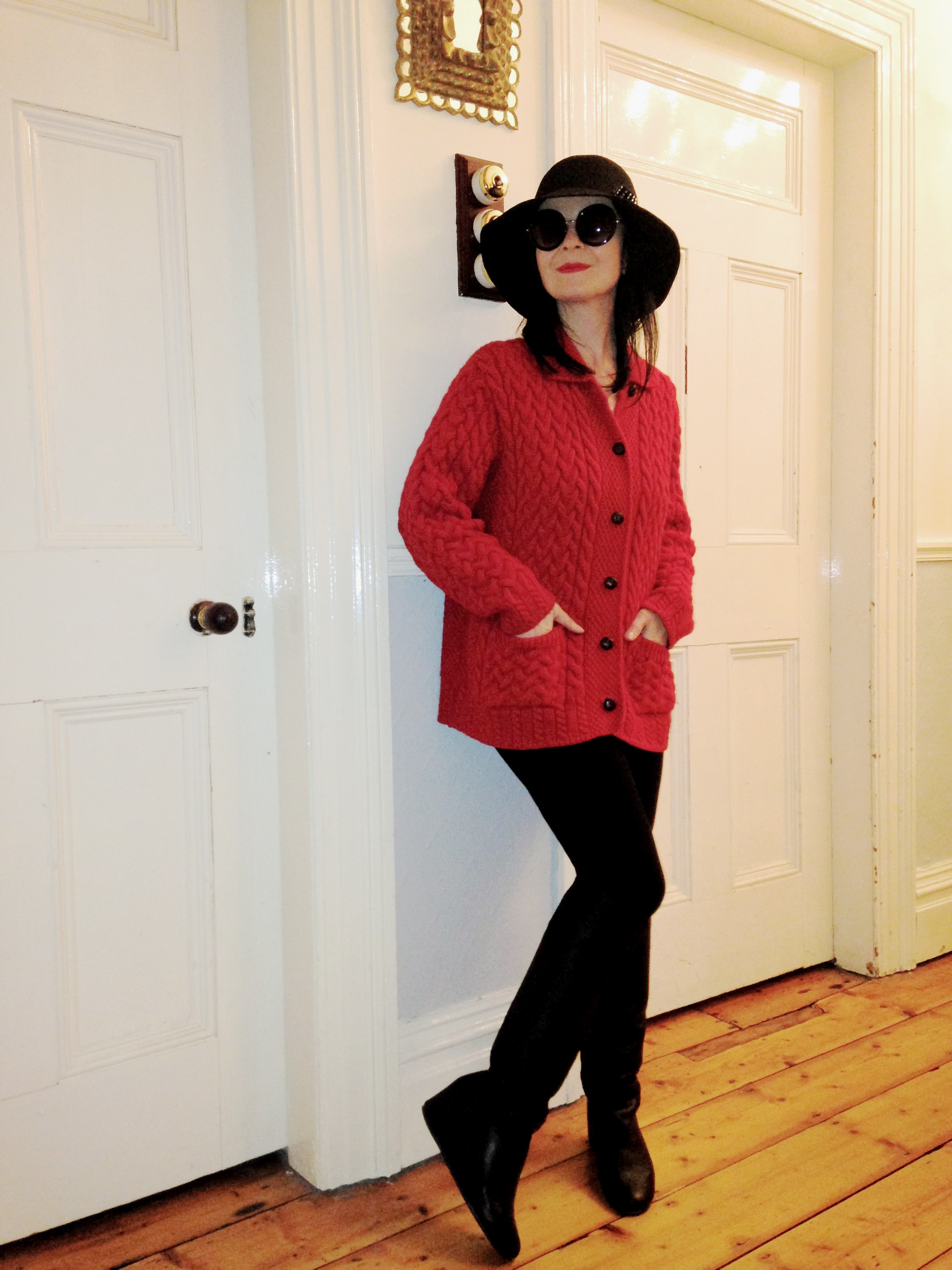 Traditional Vintage xmas red Aran sweater for a more understated xmas look