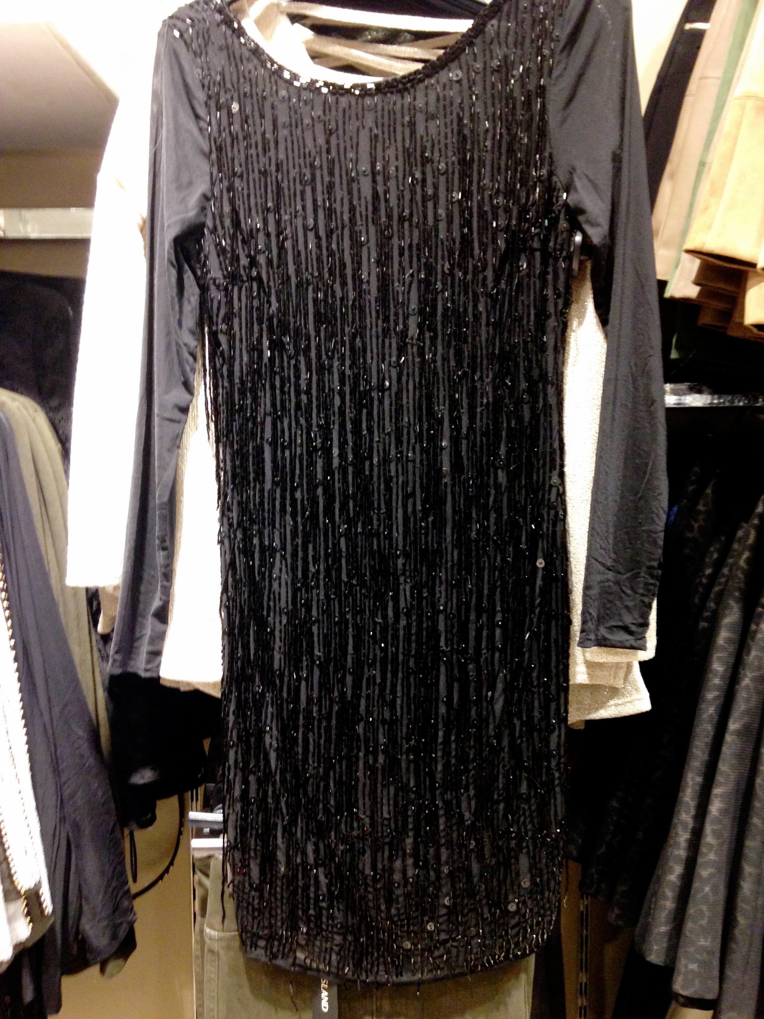 River island! Black beaded fringe detail body con dress. Gorgeous. Around €80.00