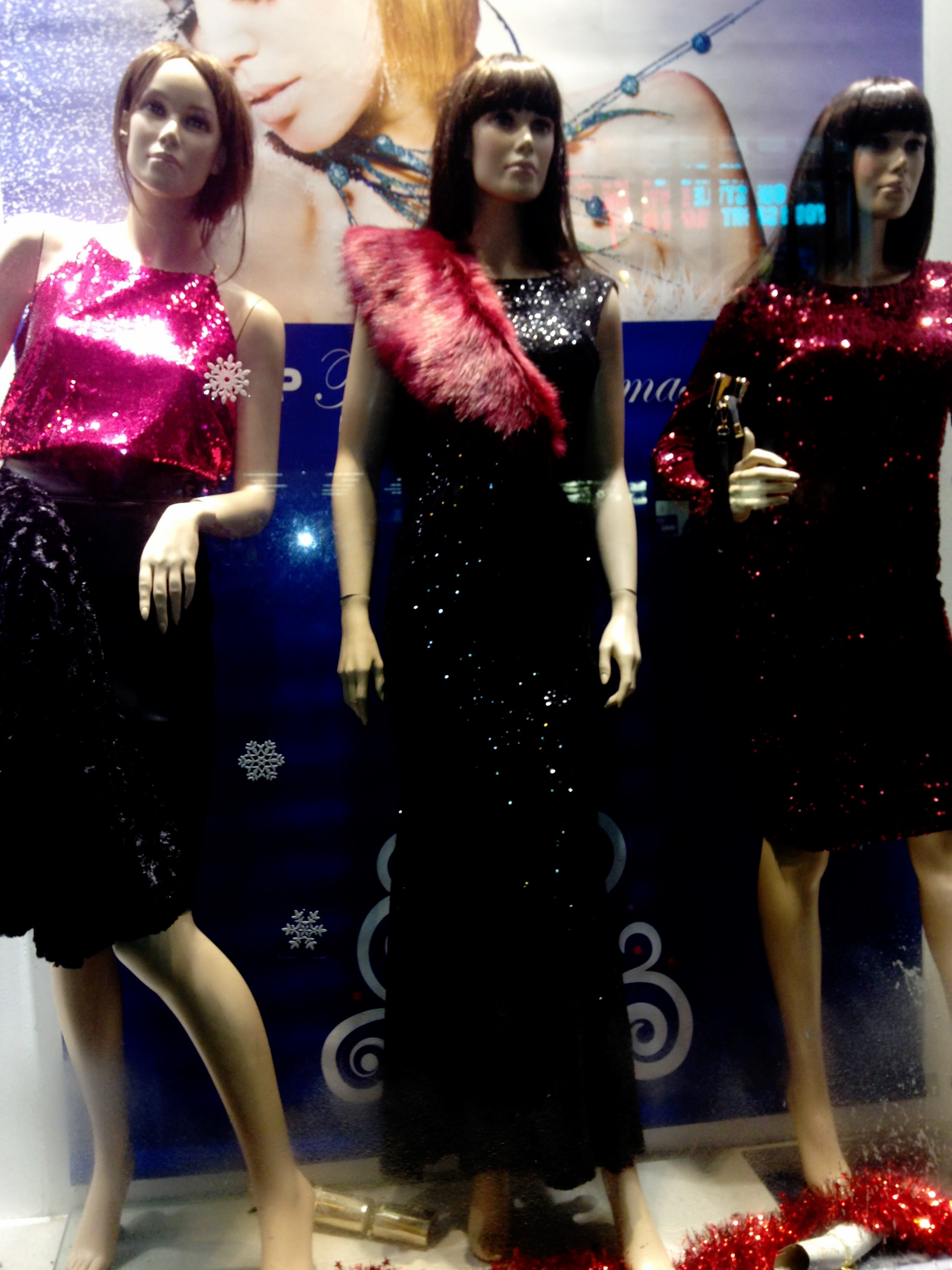 Red combination ensemble from Swamp Dublin. Red sequinned knee length dress €60.00. Long dress €120.00. Red top €30.00 and red fur stole €25.00. Enjoy!