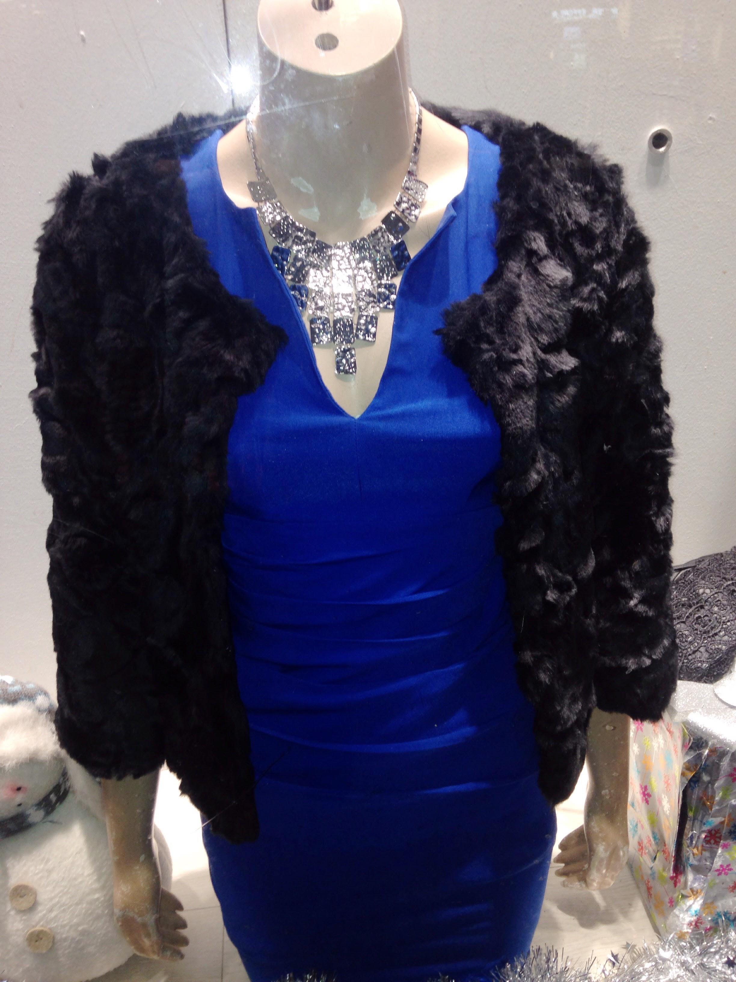 Swamp Dublin! Blue body con worn underneath a fur crop Jacket! Dress €49.99 Jacket €30.00