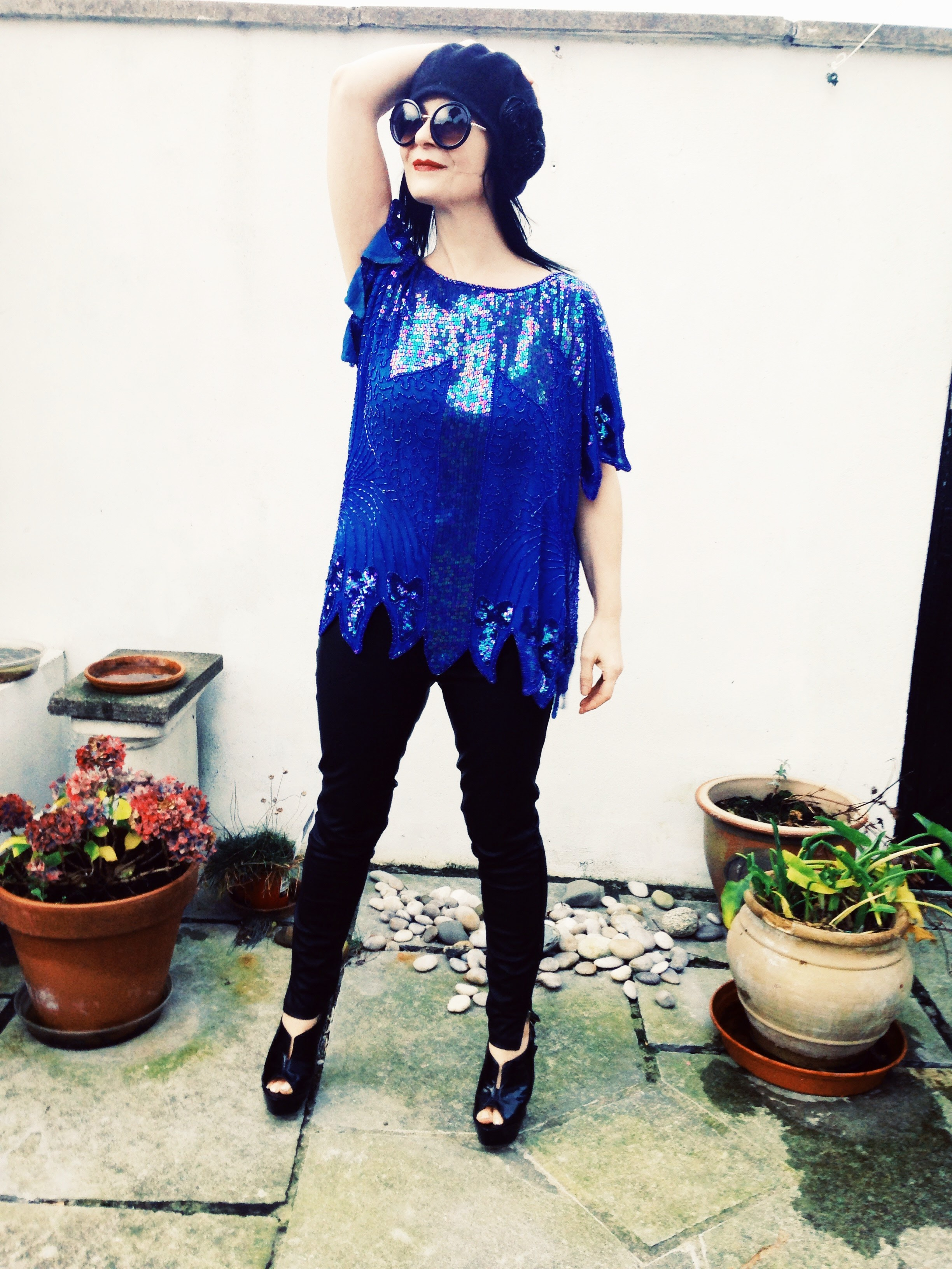 Laid back Cool! Vintage 80s beaded and sequinned top from Frank Usher
