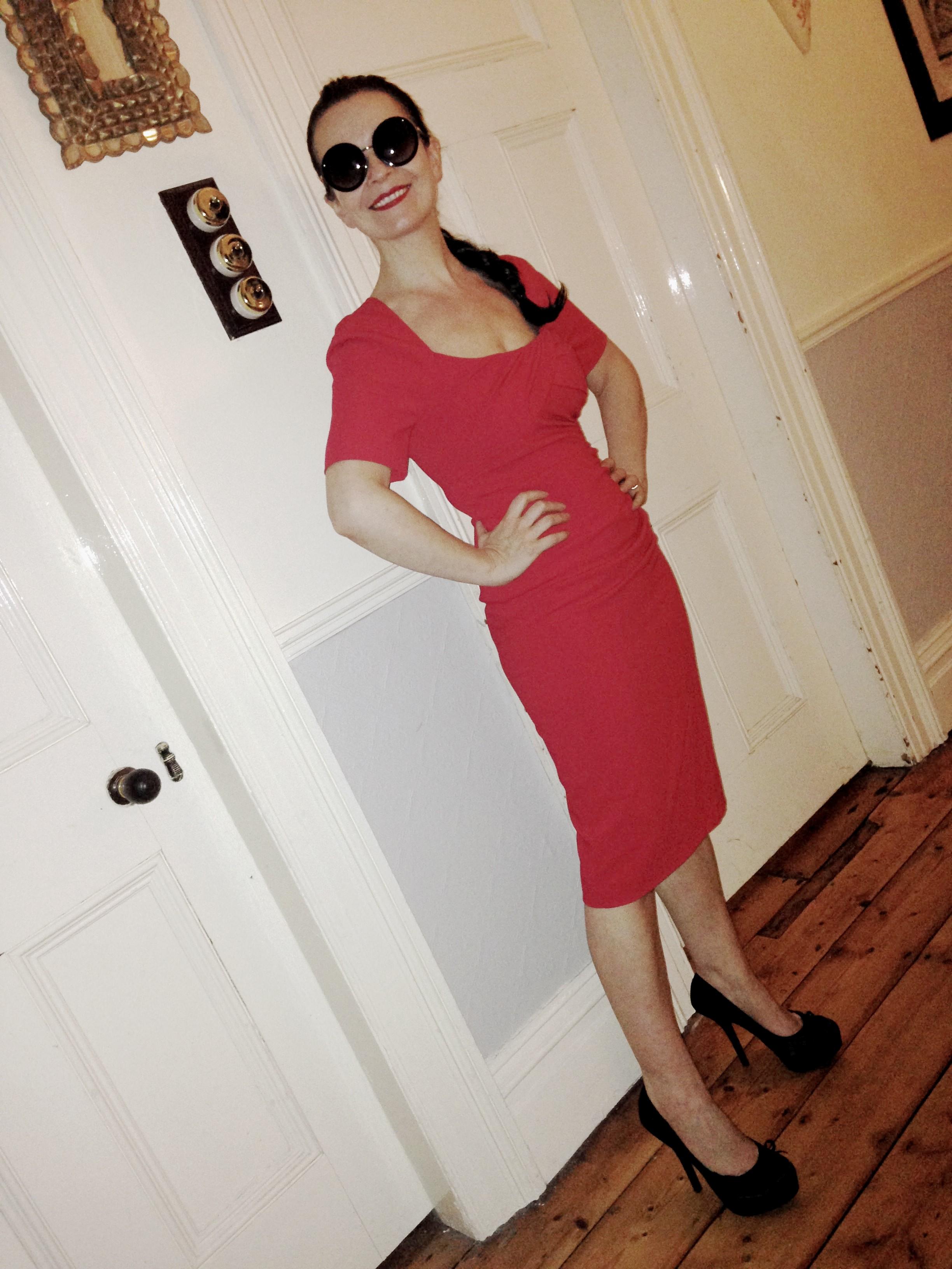 Amazing 40s style LK Bennett red dress.