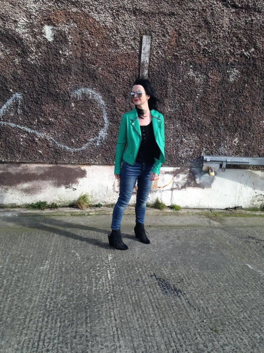Green Biker with vintage shades!