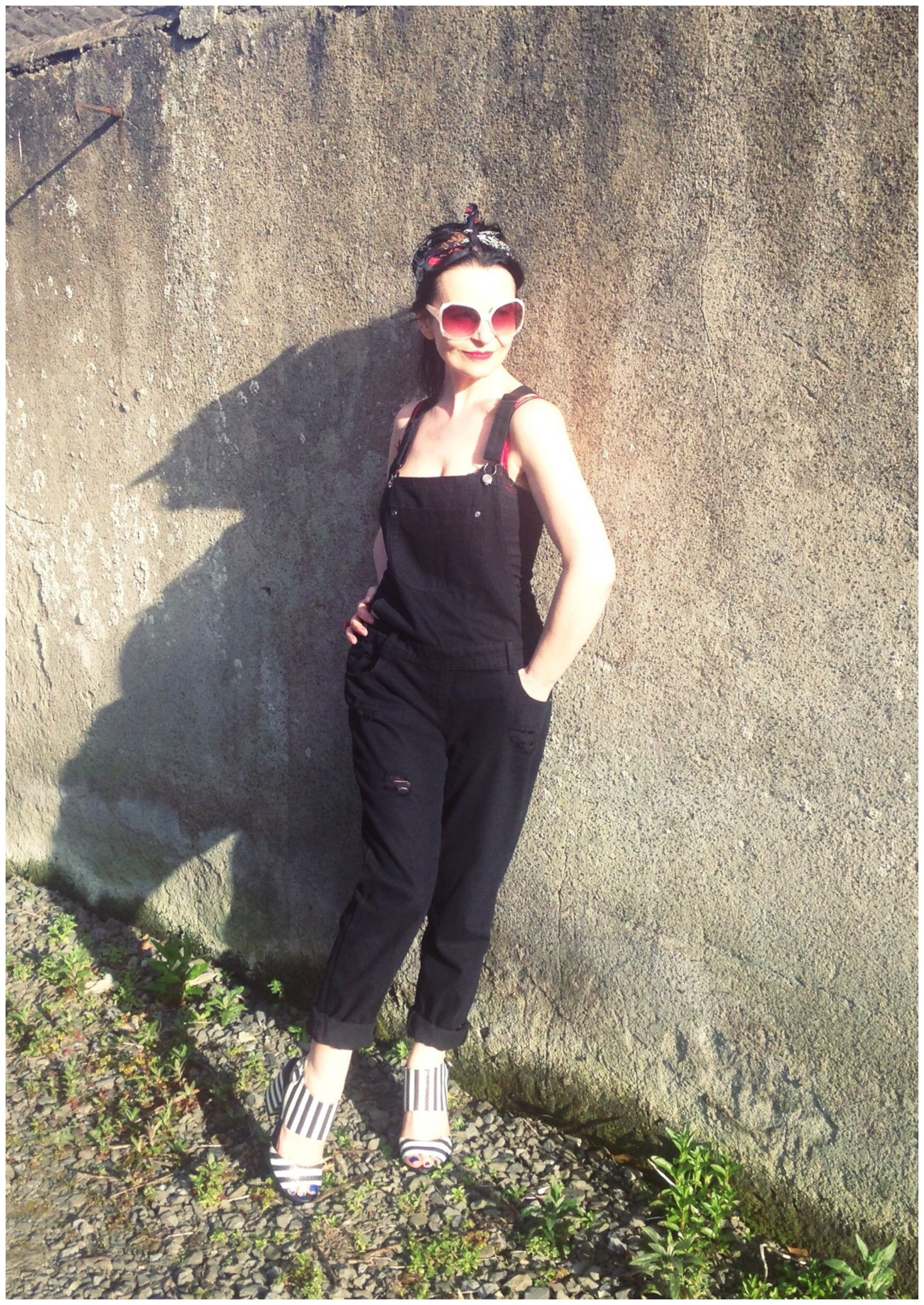 Black Denim Dungarees , Retro scarf ,70s vintage shades and fab monochrome shoes complete this look!