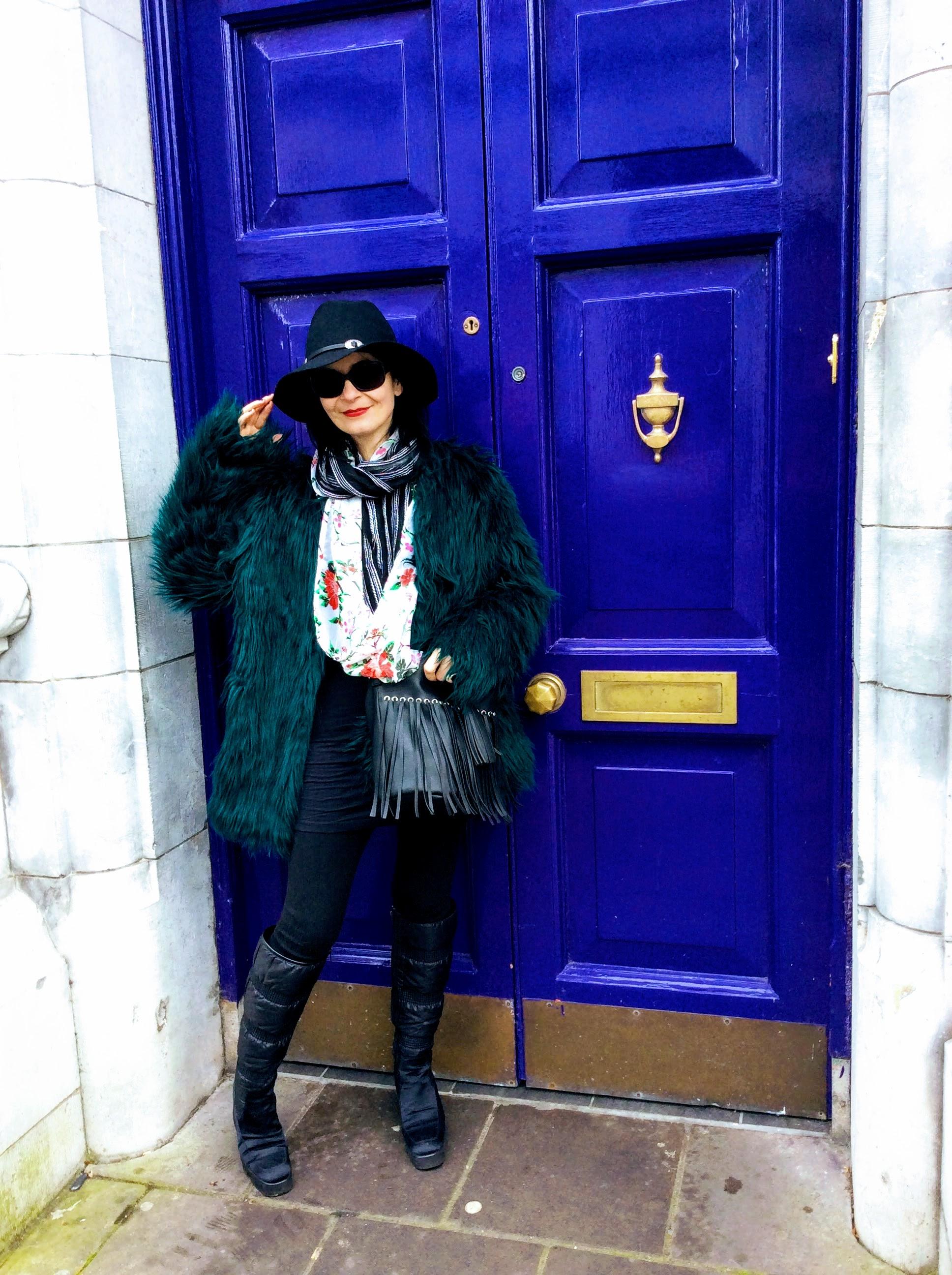 Mongolian faux fur coat! LOVE!