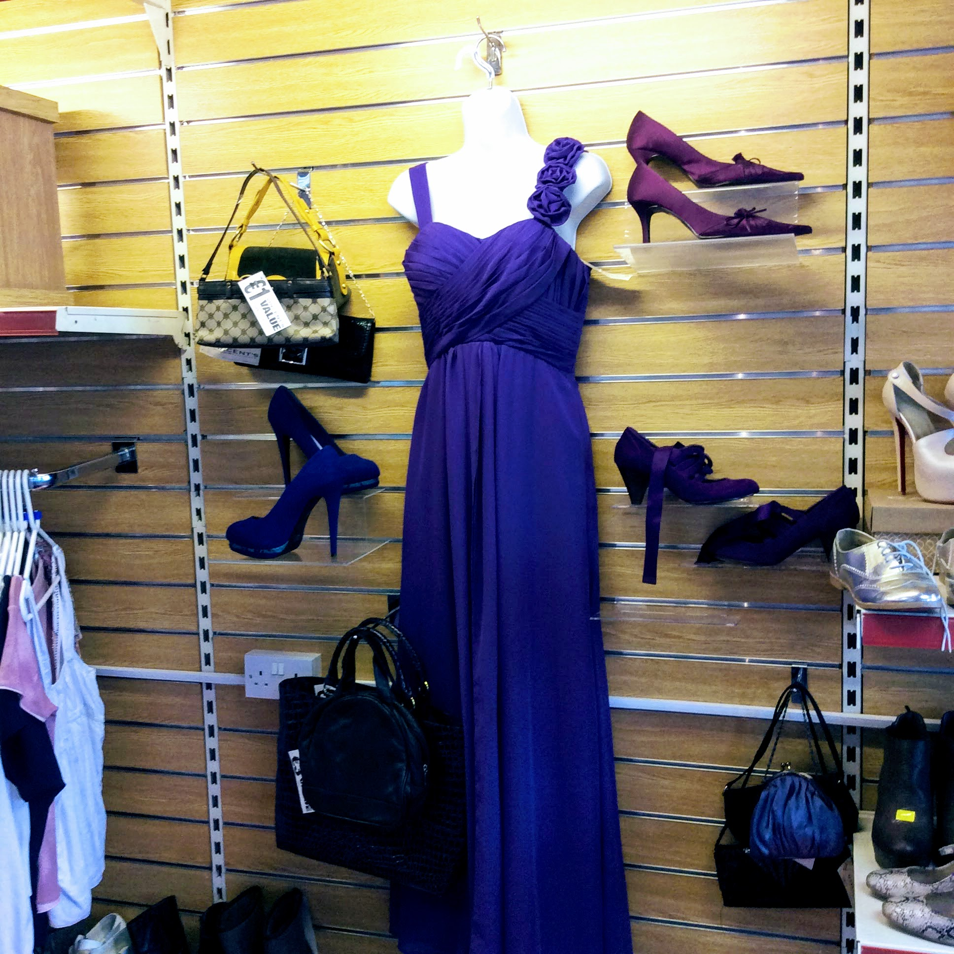 Fab display of evening dress in the Vincent's shop in Abbeyleix.