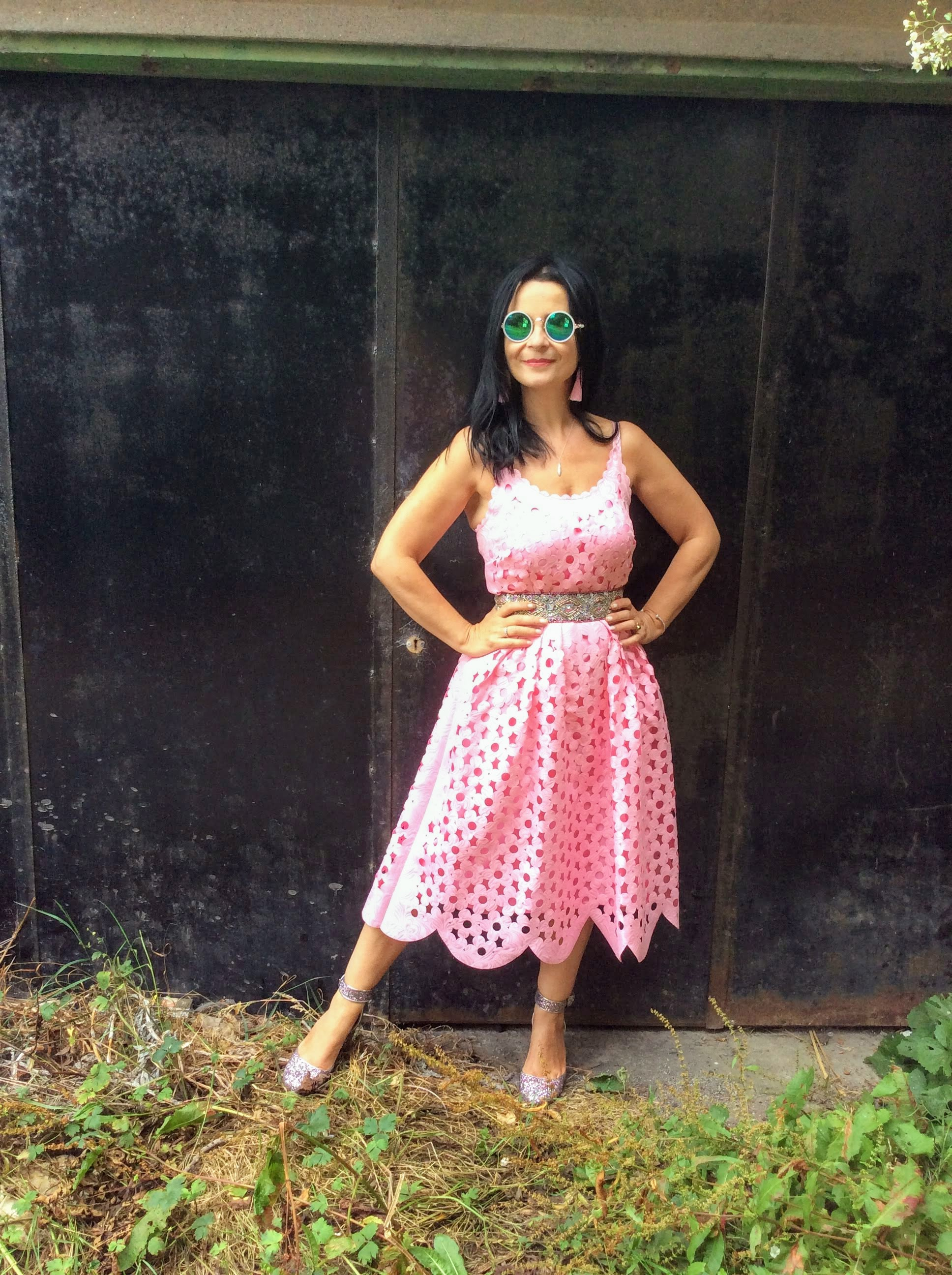 Pink laser cut dress savida at dunnes stores cost €25 in summer sale