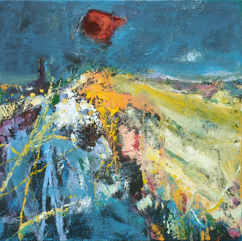 Red sun (Homage to Joan Eardley) , oil on canvas, 50cm x 50cm  (Sold)