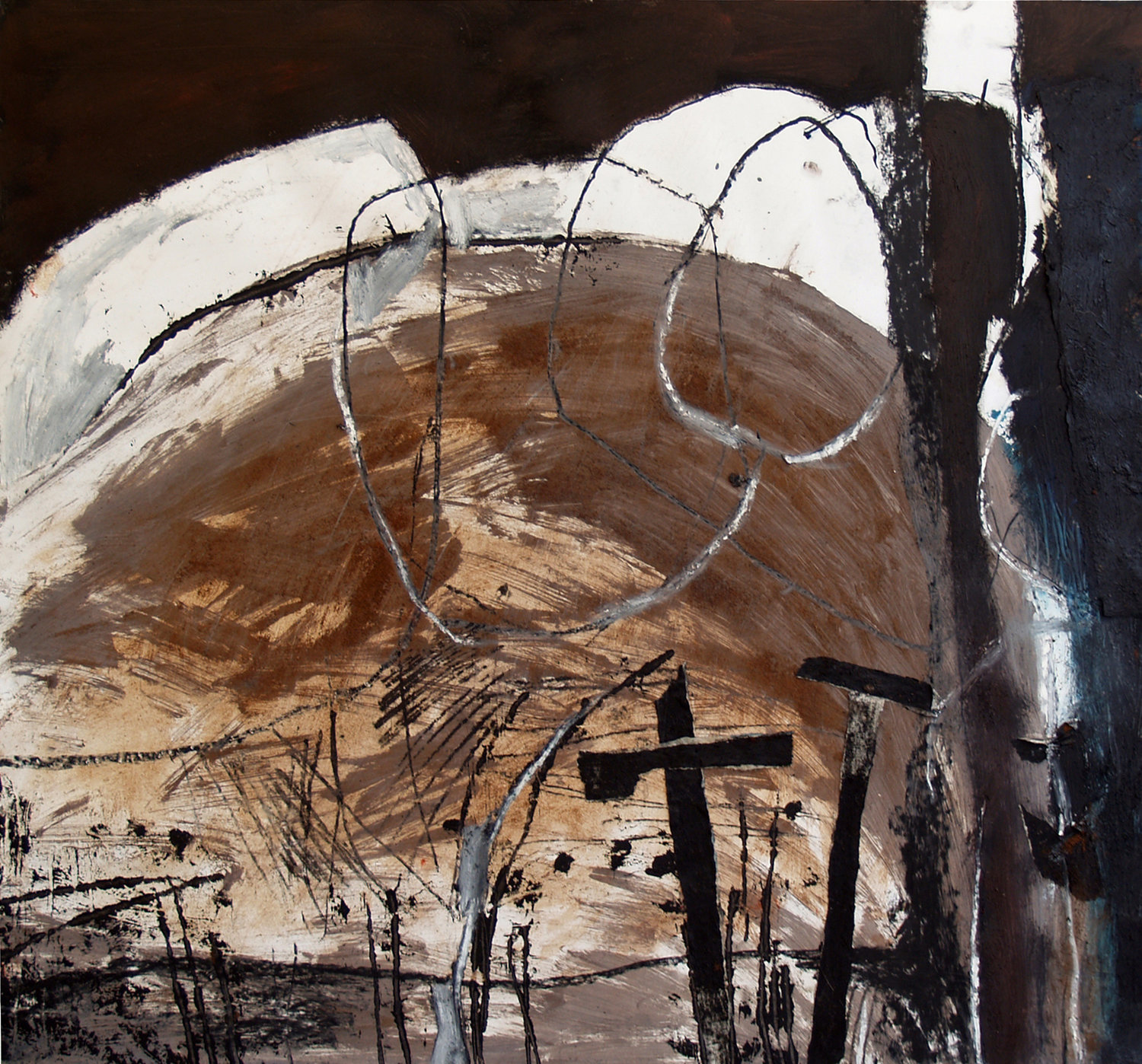 """After Fire  Selected for the  Royal Academy Summer Show 2015 , London, and the  Royal Ulster Academy 133rd Annual Exhibition 2014, Belfast. Mixed Media (oil paint, coffee grounds, charcoal, paper collage) on paper, 27"""" x 25"""" NFS"""