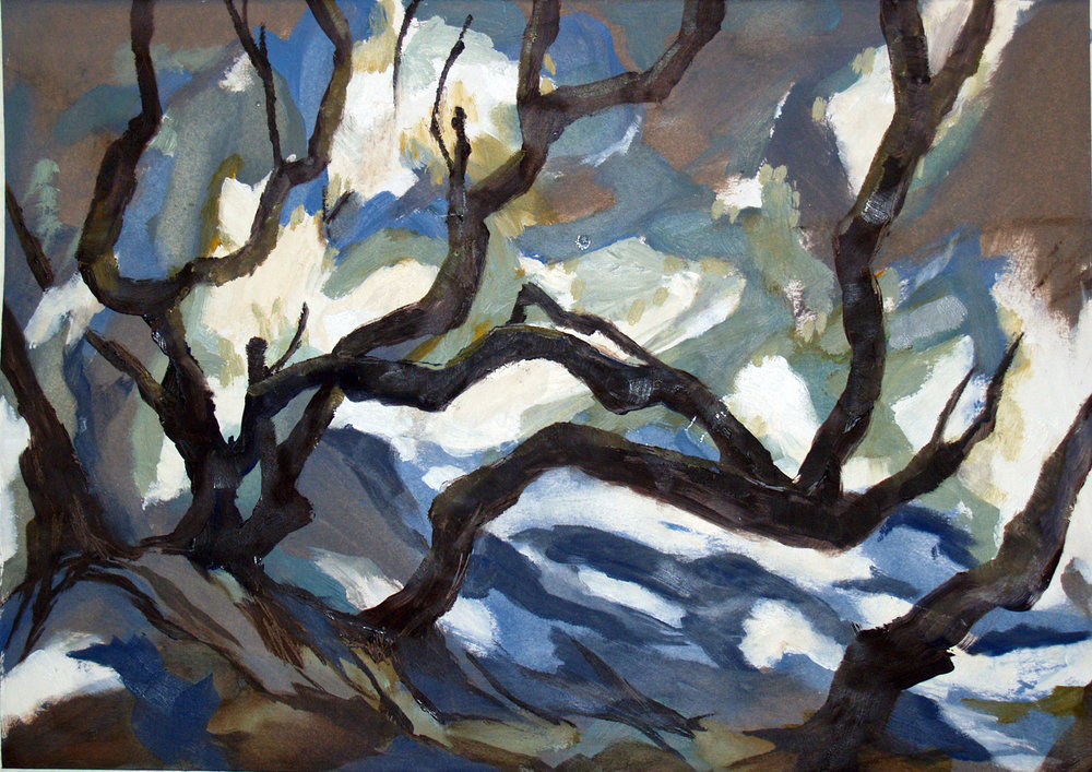 Old Tree Oil on paper,30cm x 42cm, 2015  (Sold)