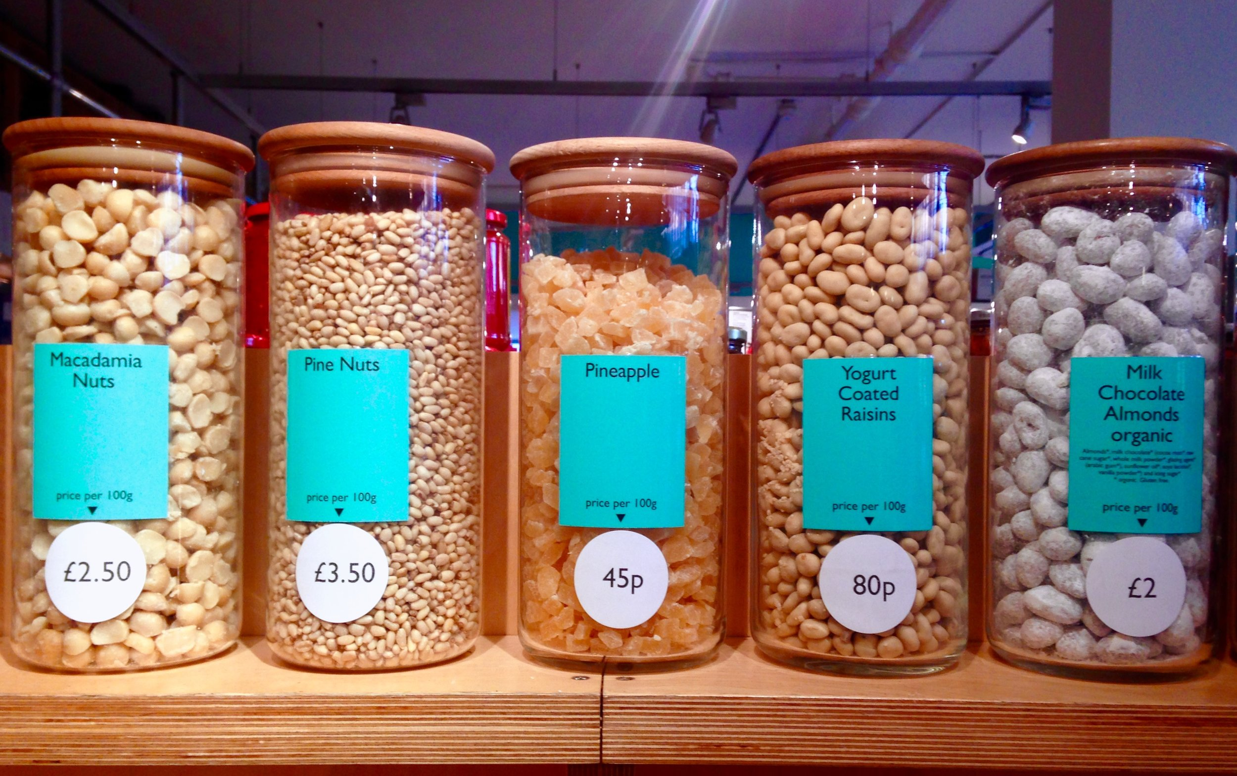 We sell a wide range of loose nuts and confectionary.