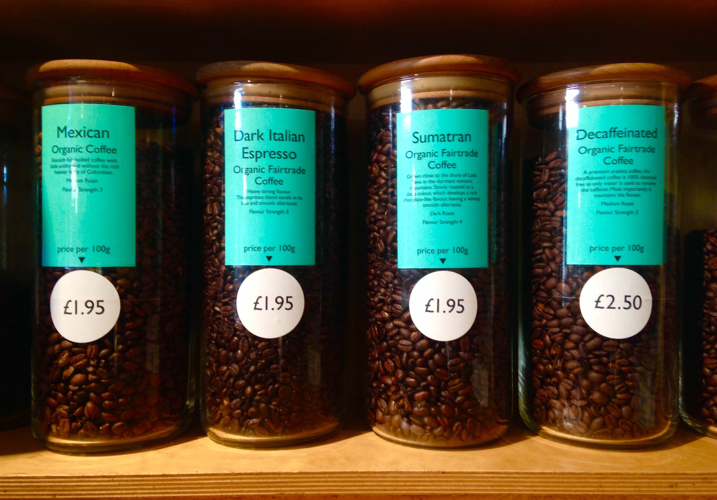 We also sell a fantastic range of loose organic and Fairtrade coffee beans, which you can grind here at Earth.
